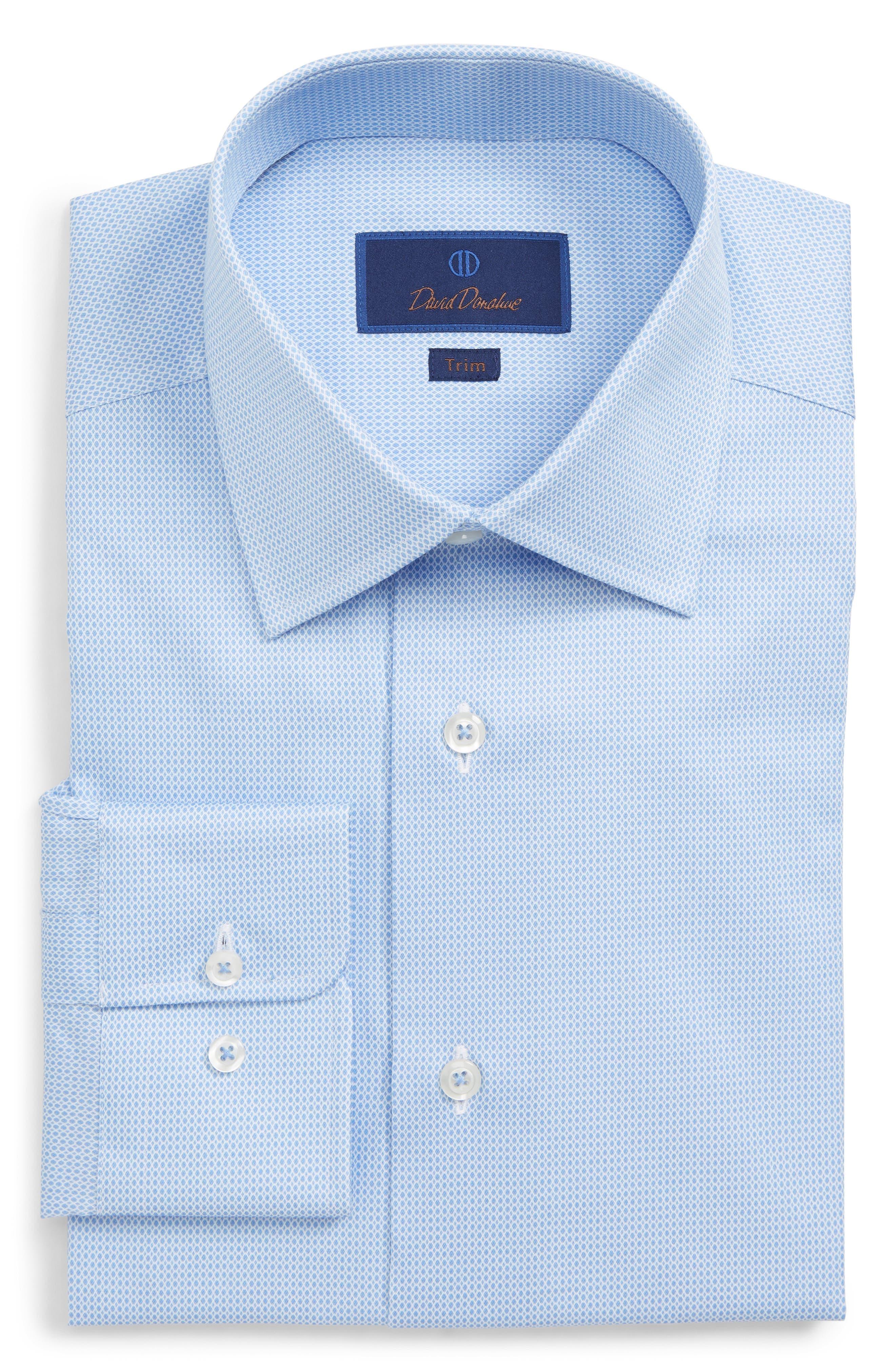 DAVID DONAHUE Men'S Trim-Fit Geometric-Pattern Dress Shirt in Blue