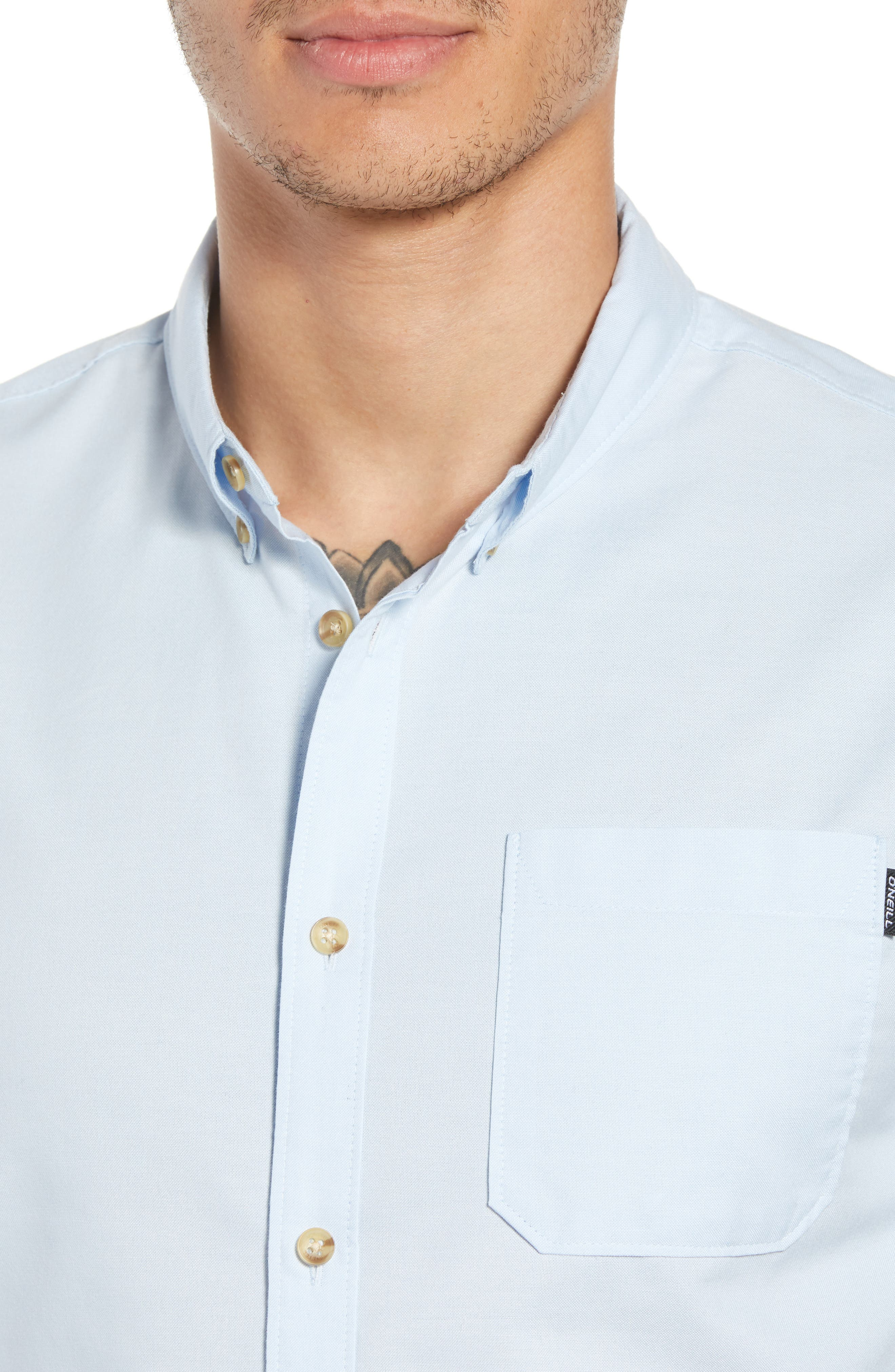 Banks Woven Shirt,                             Alternate thumbnail 4, color,                             LIGHT BLUE