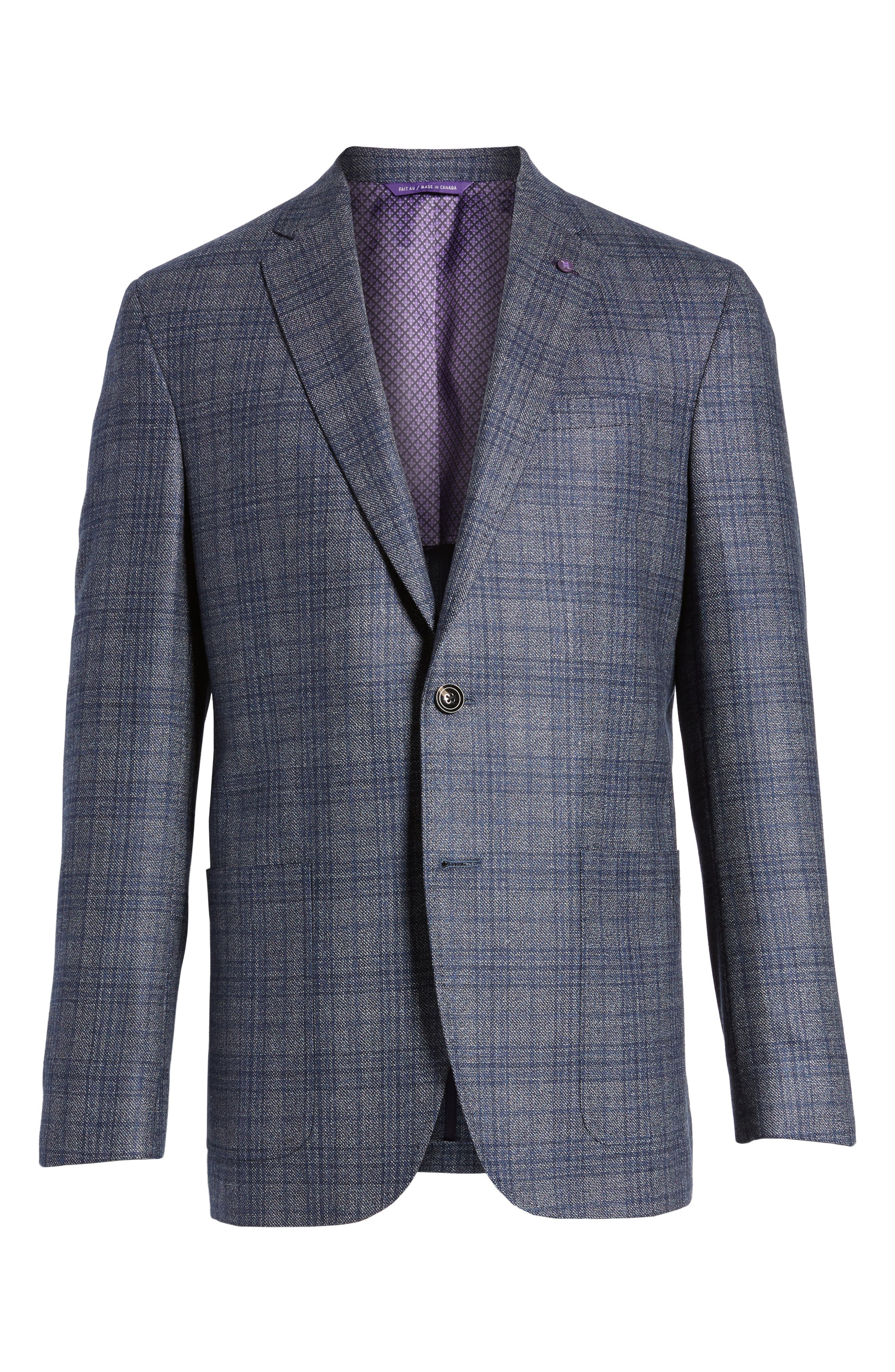 Kyle Trim Fit Plaid Silk & Wool Sport Coat,                             Alternate thumbnail 5, color,
