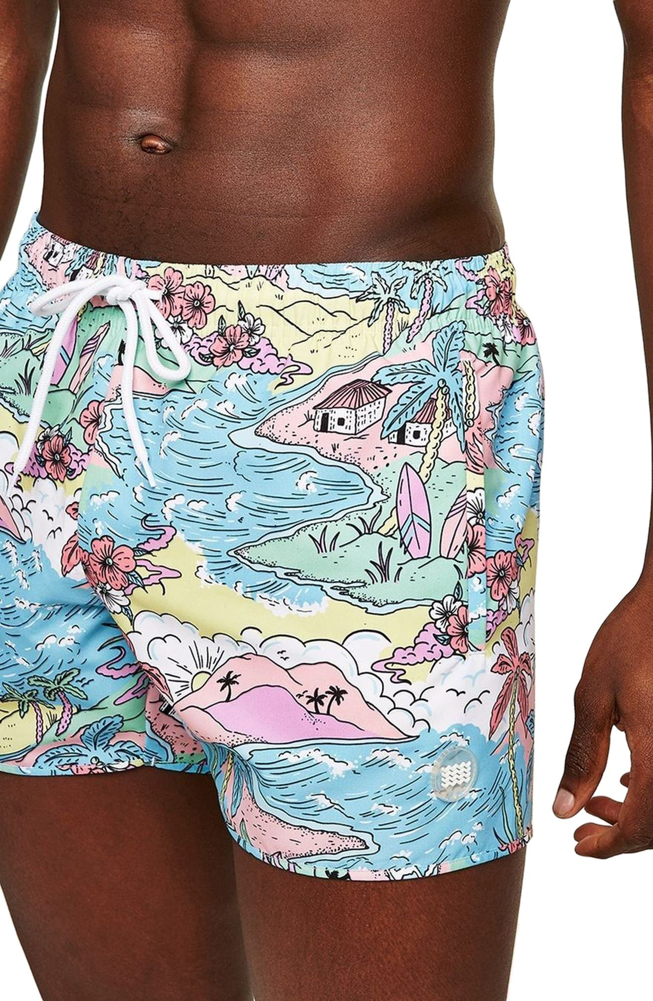 Print Swim Trunks,                             Alternate thumbnail 3, color,                             400