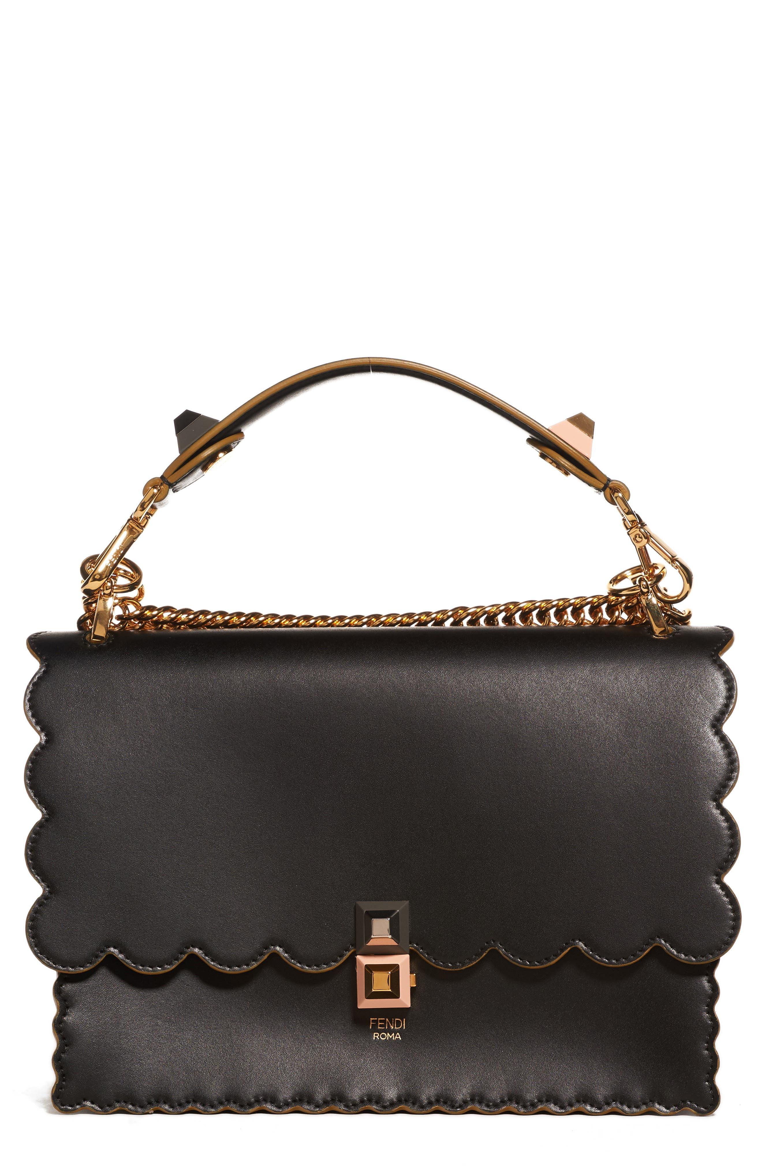 Kan I Scallop Leather Shoulder Bag,                             Main thumbnail 1, color,                             BLACK