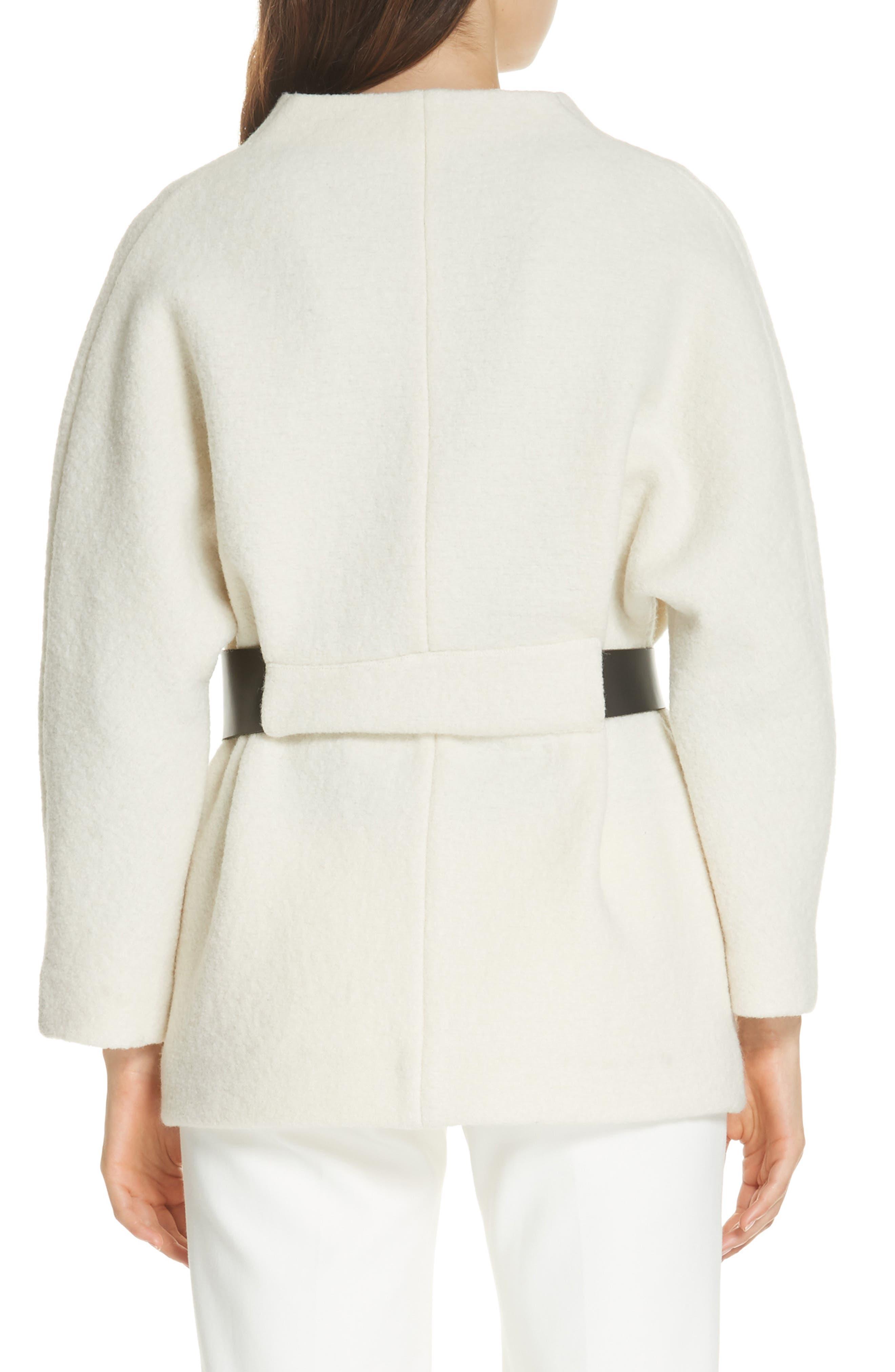 Clif Belted Wool Coat,                             Alternate thumbnail 2, color,                             ECRU
