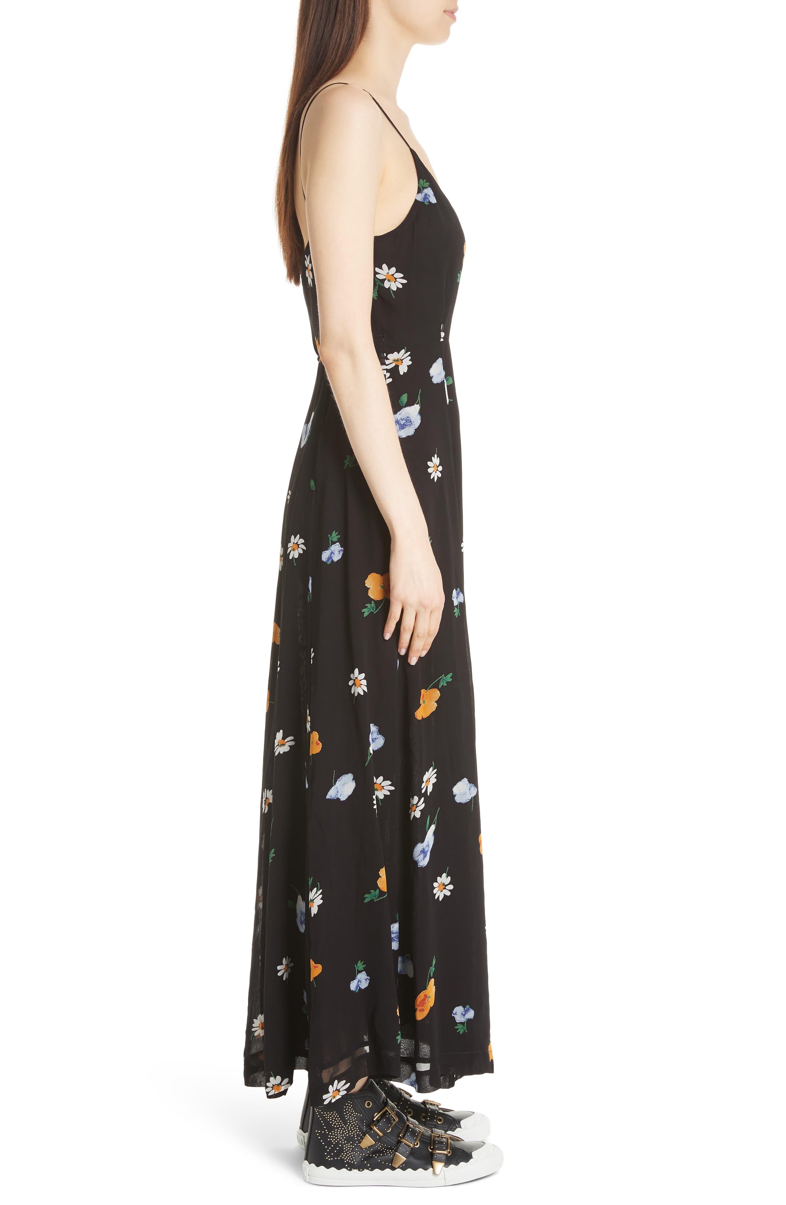 Dainty Georgette Strap Dress,                             Alternate thumbnail 3, color,                             BLACK