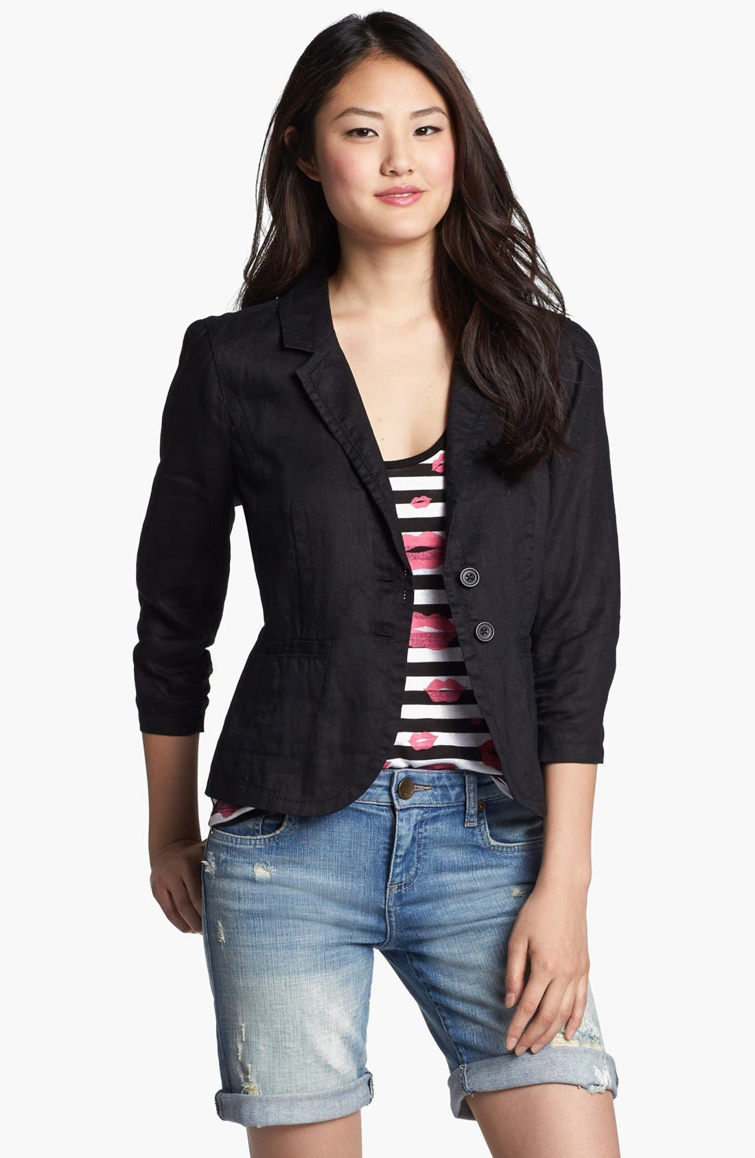 Two Button Linen Jacket,                             Main thumbnail 1, color,                             001