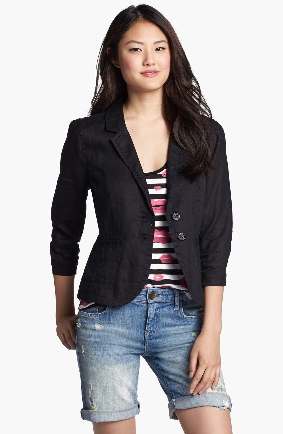 Two Button Linen Jacket, Main, color, 001