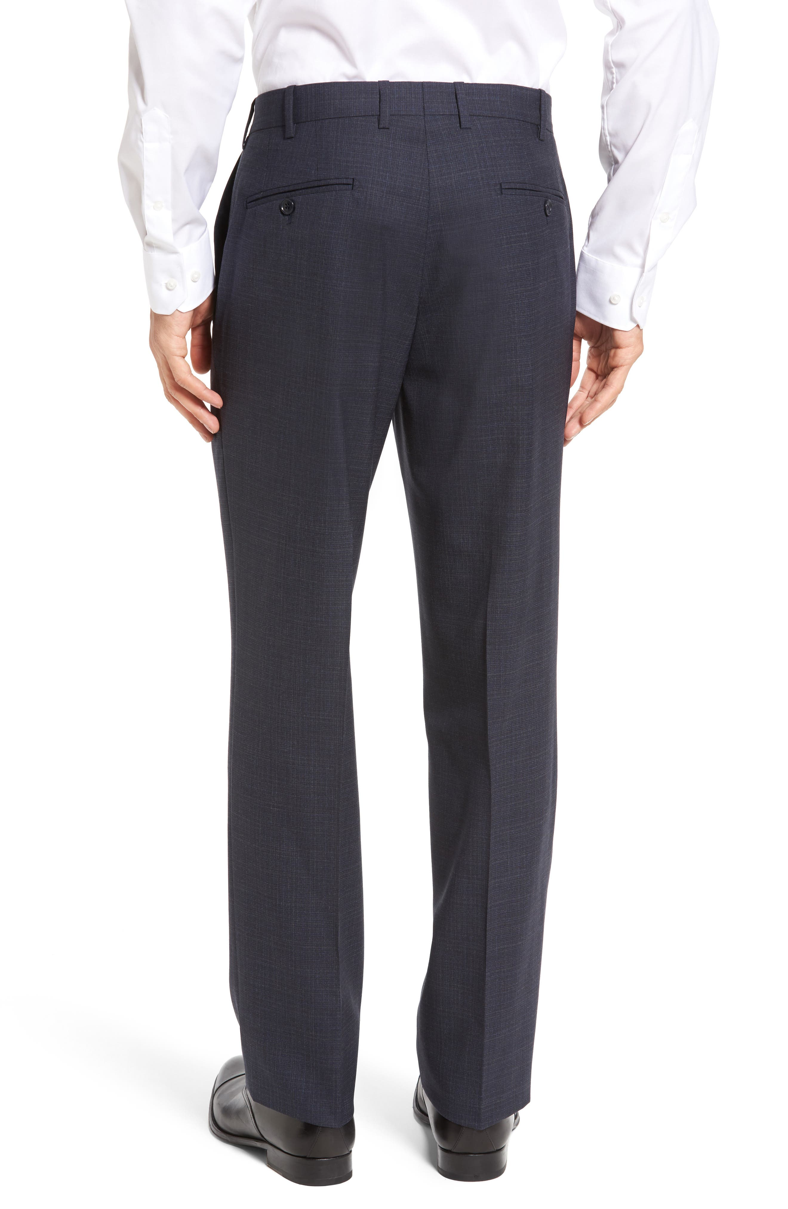 Flat Front Plaid Wool Trousers,                             Alternate thumbnail 9, color,