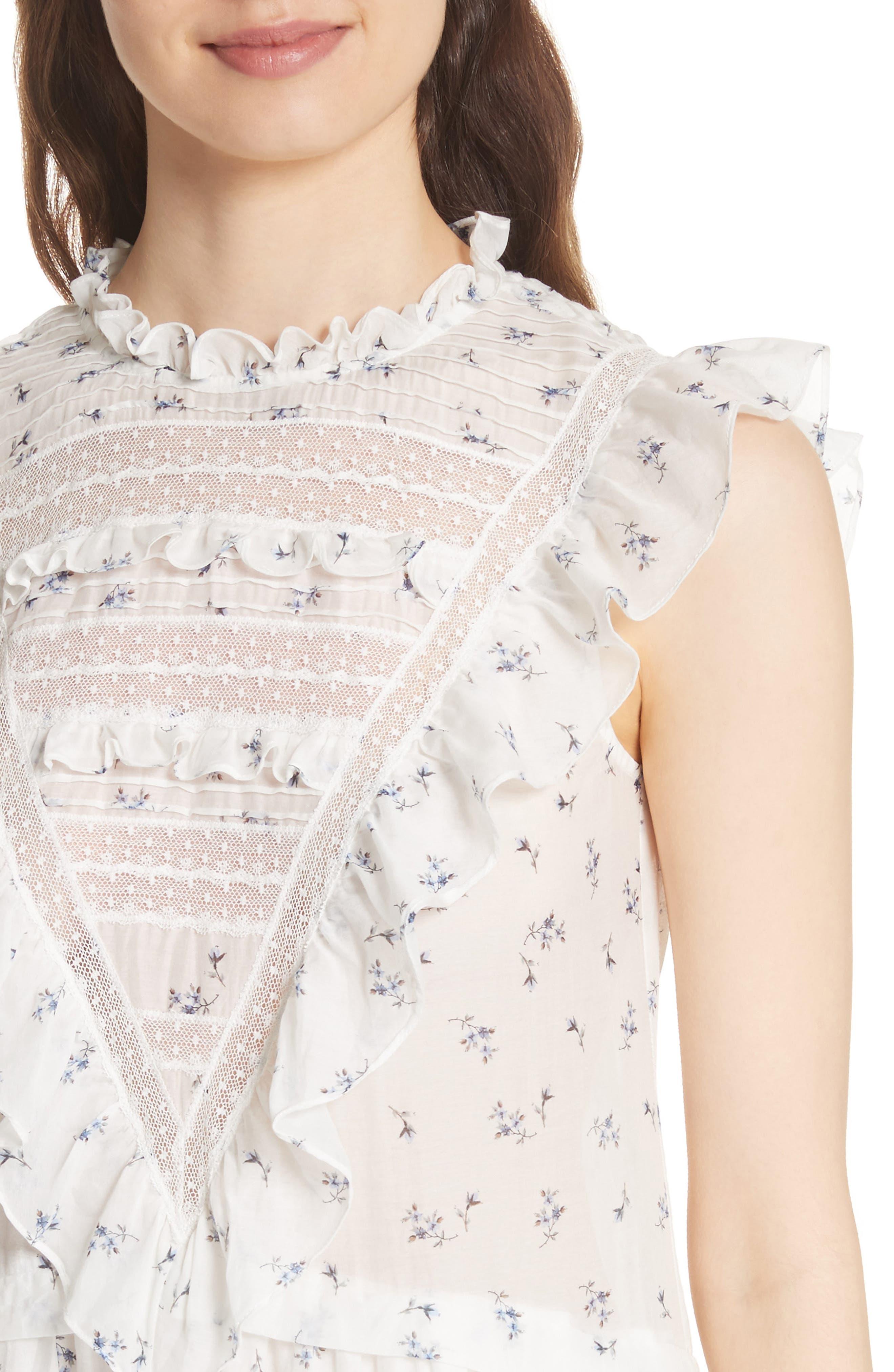 Floral Spring A-Line Dress,                             Alternate thumbnail 4, color,                             103