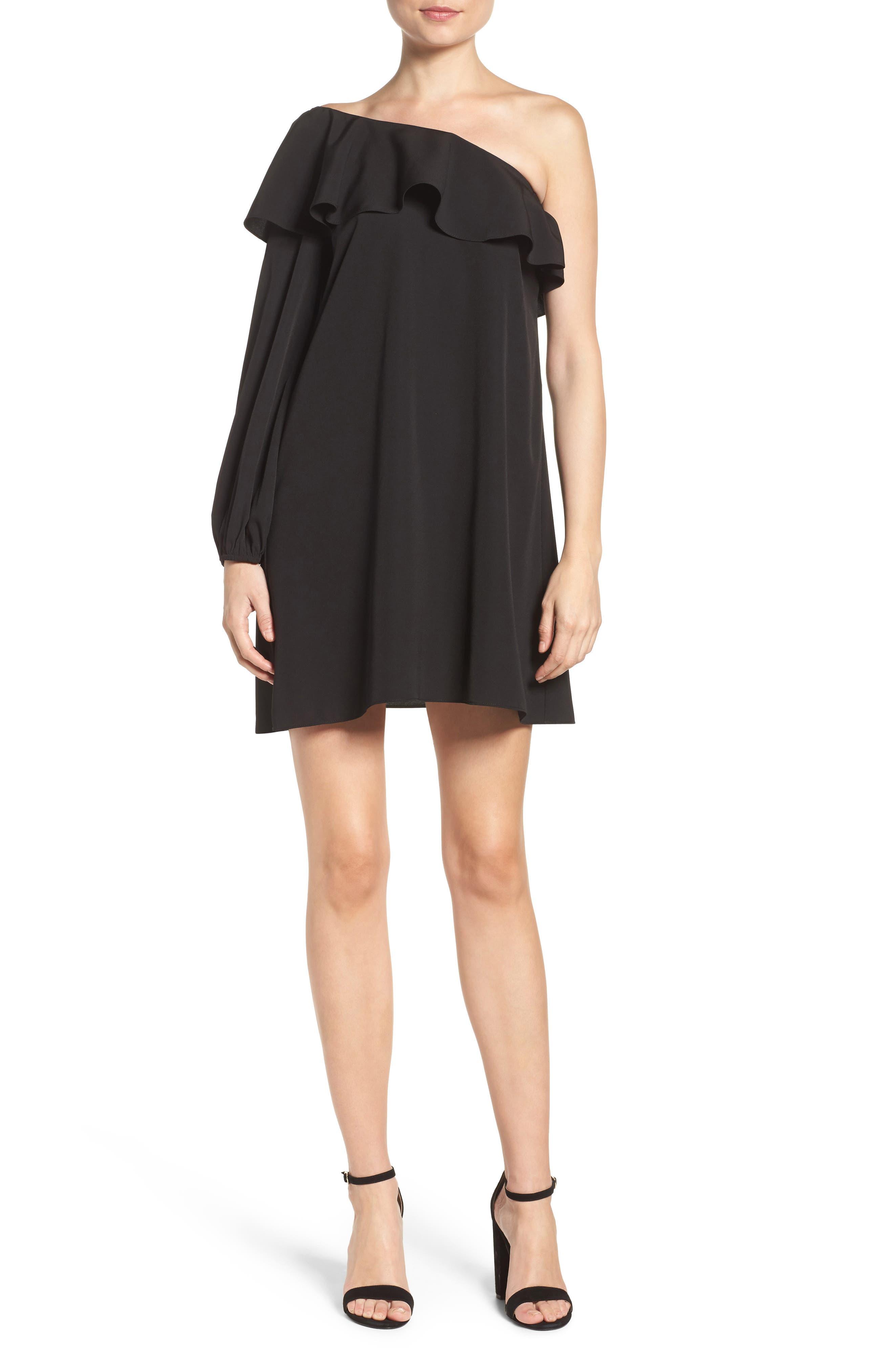 A BY AMANDA Luella One-Shoulder Dress, Main, color, 001