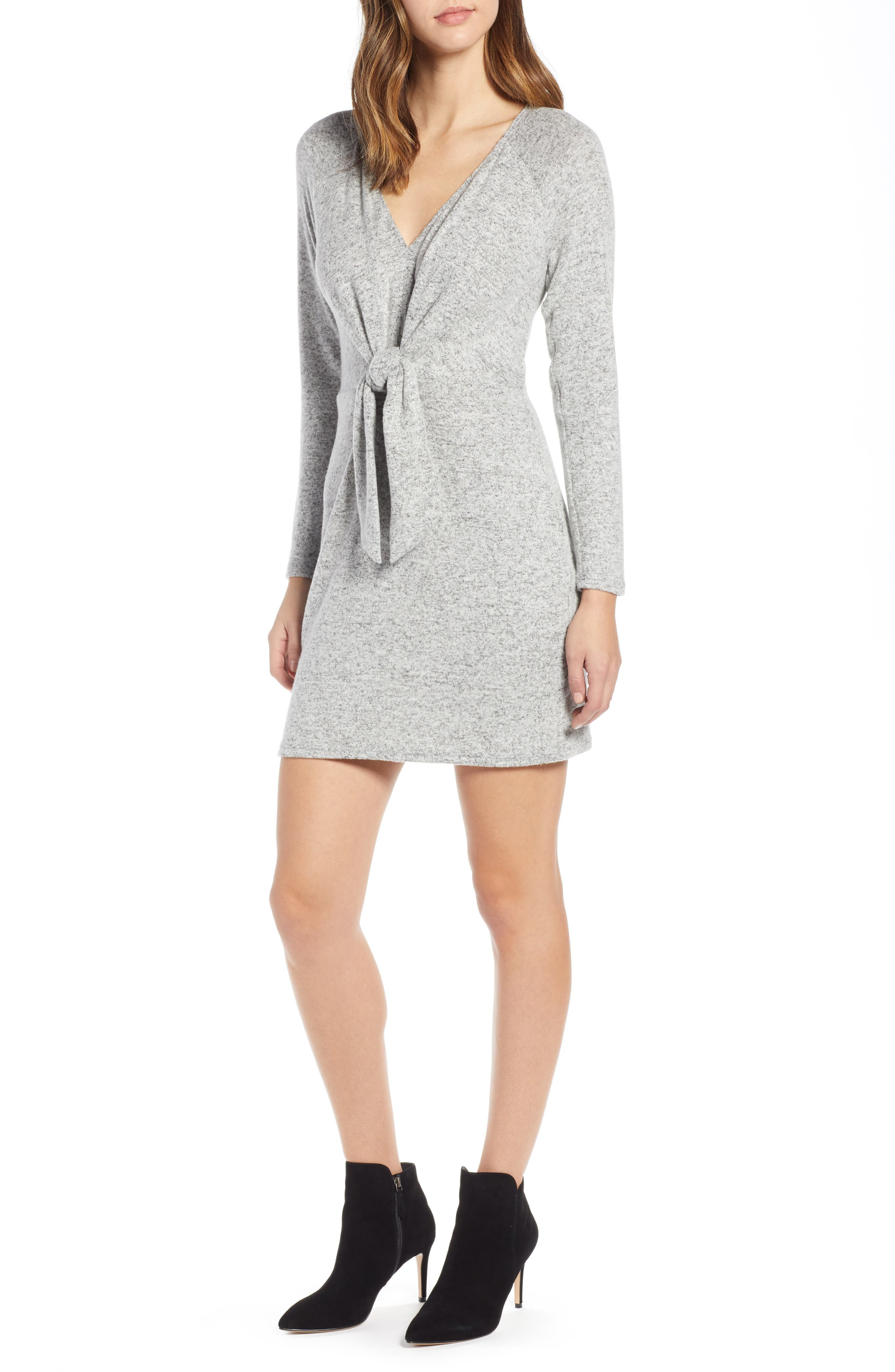 Socialite Tie Front Sheath Dress, Grey