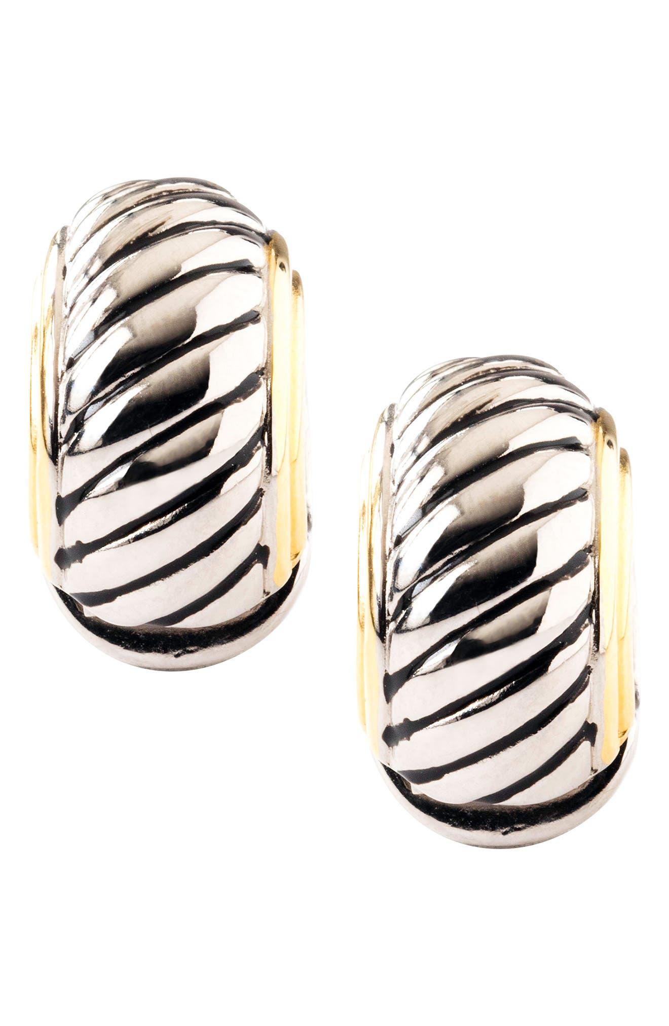 Diagonal Ridge Metallic Reversible Earrings,                             Main thumbnail 1, color,                             SILVER/ GOLD