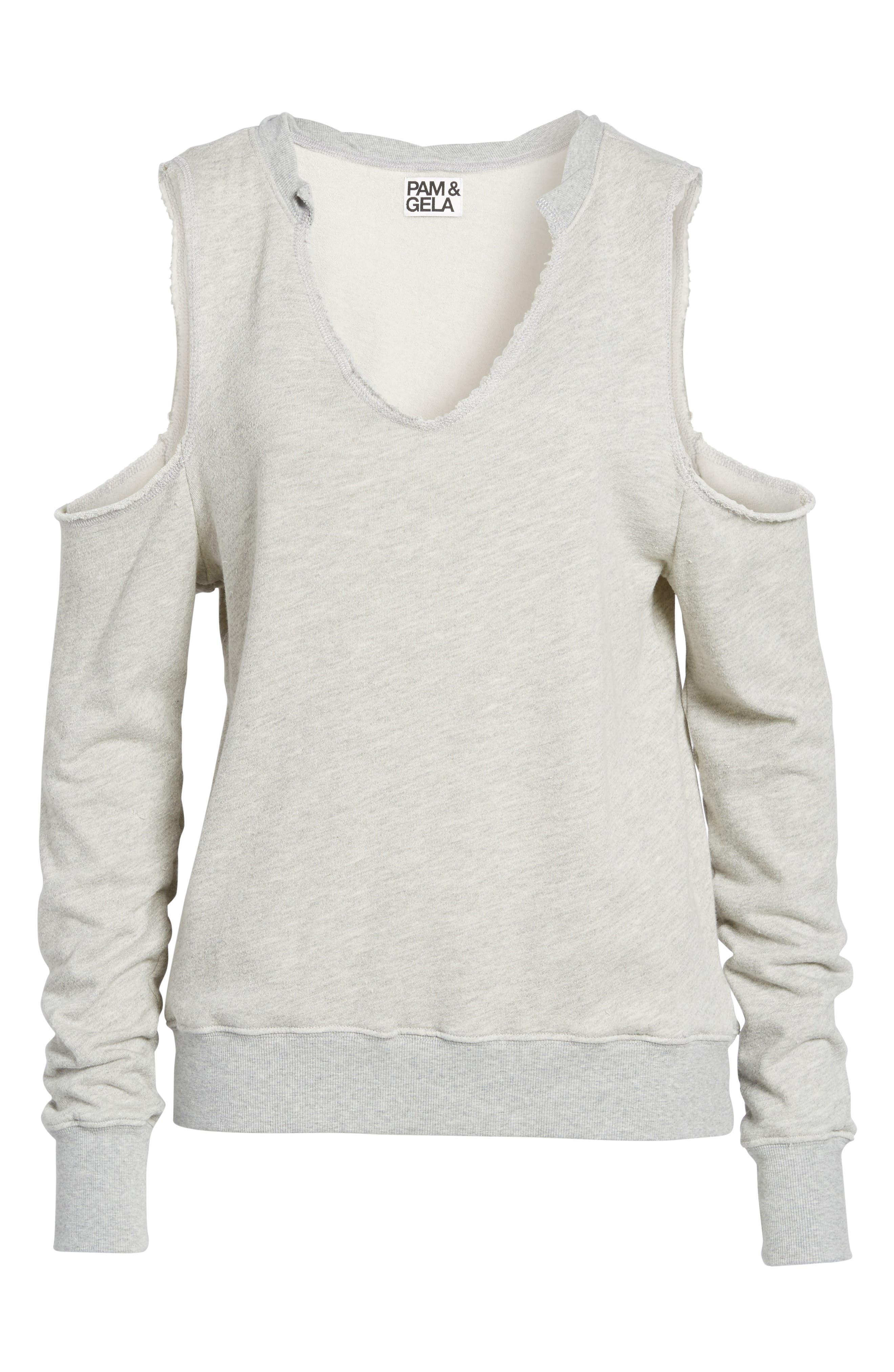 Cold Shoulder Sweatshirt,                             Alternate thumbnail 6, color,                             031