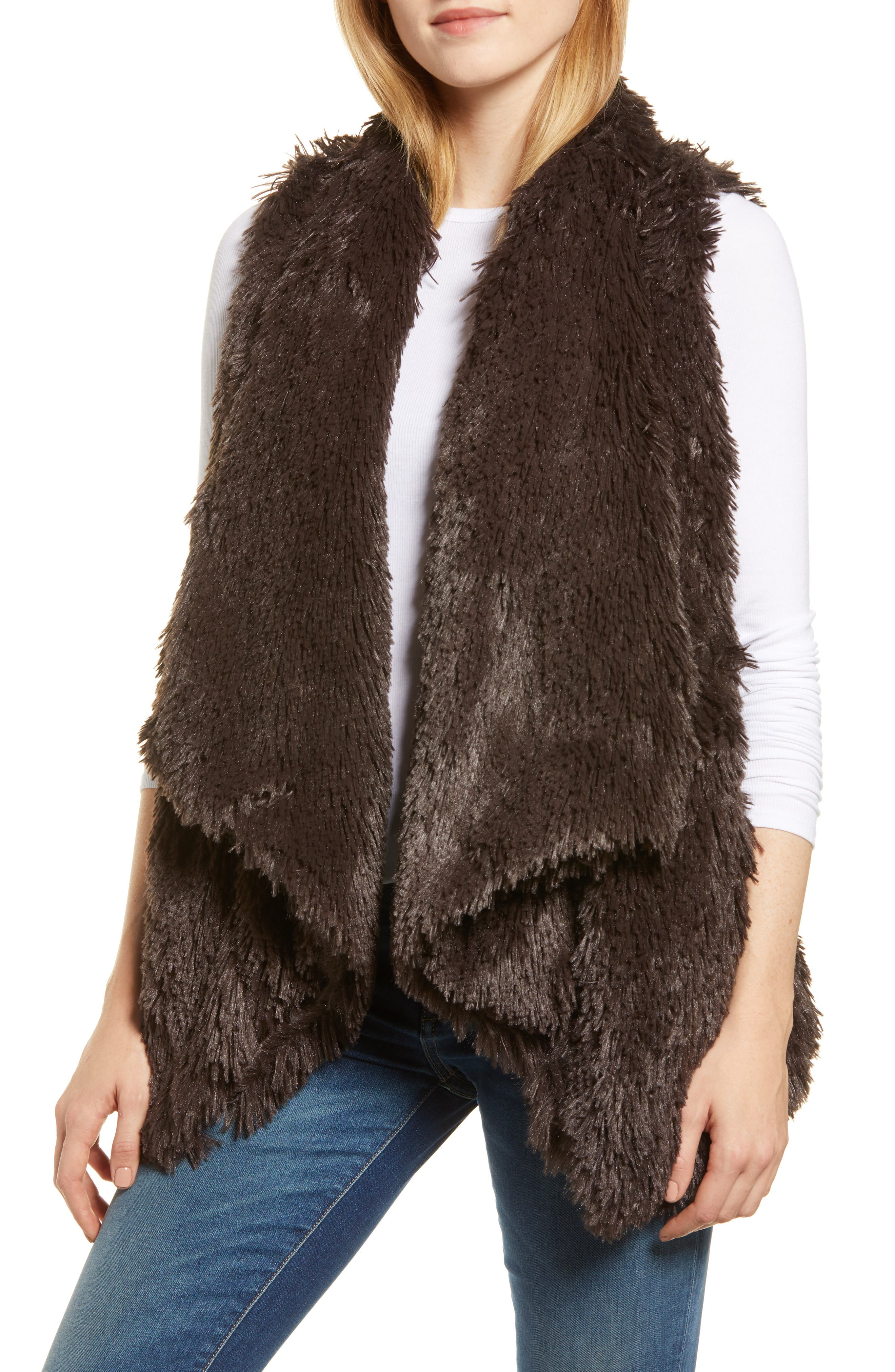 Wit & Wisdom Draped Faux Fur Vest, Brown