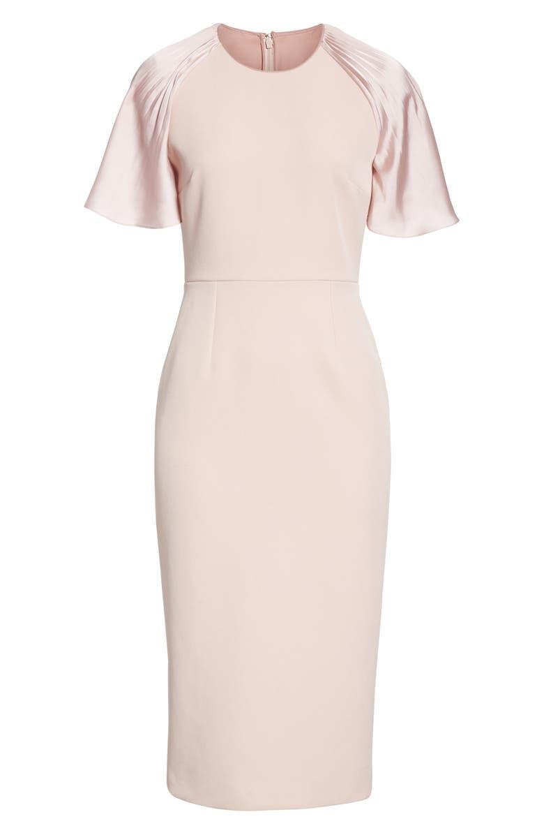 4110ede1ef58 Shop Roksanda Satin Flutter Sleeve Sheath Dress In Quartz  Dawn