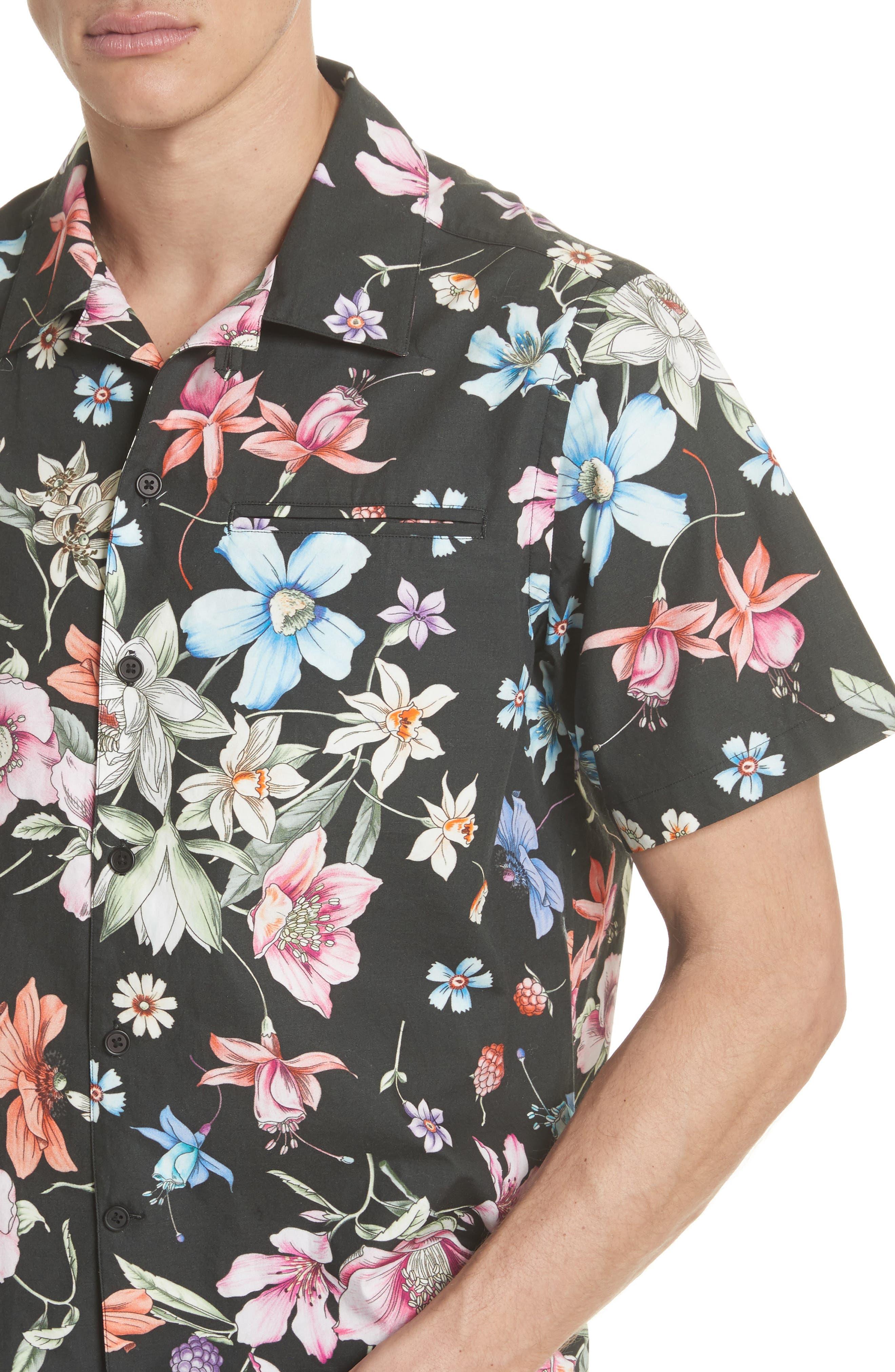 Beach Bouquet Print Shirt,                             Alternate thumbnail 4, color,                             009