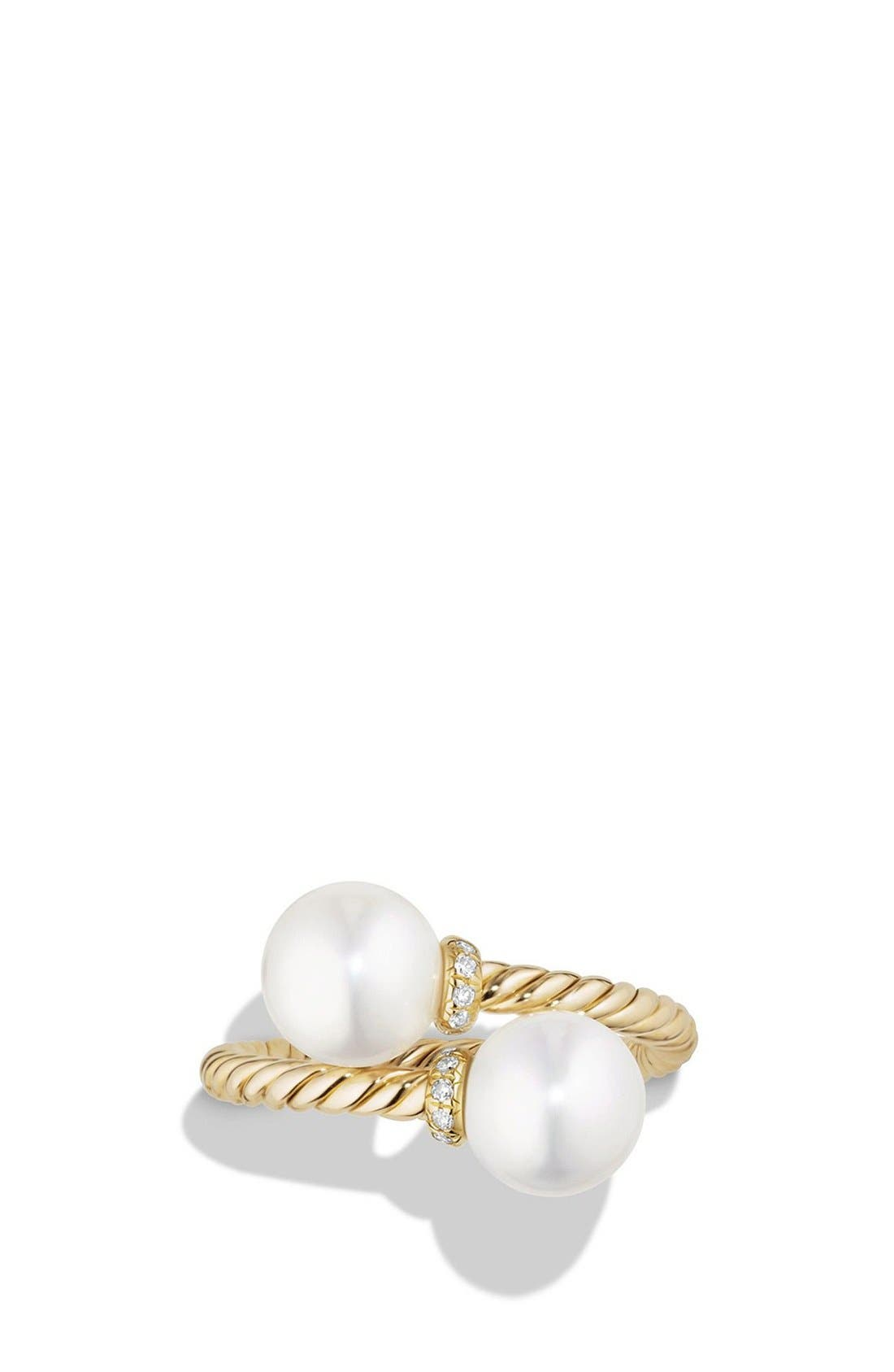 'Solari' Bead Ring with Diamonds and Pearls in 18K Gold,                             Alternate thumbnail 3, color,                             PEARL