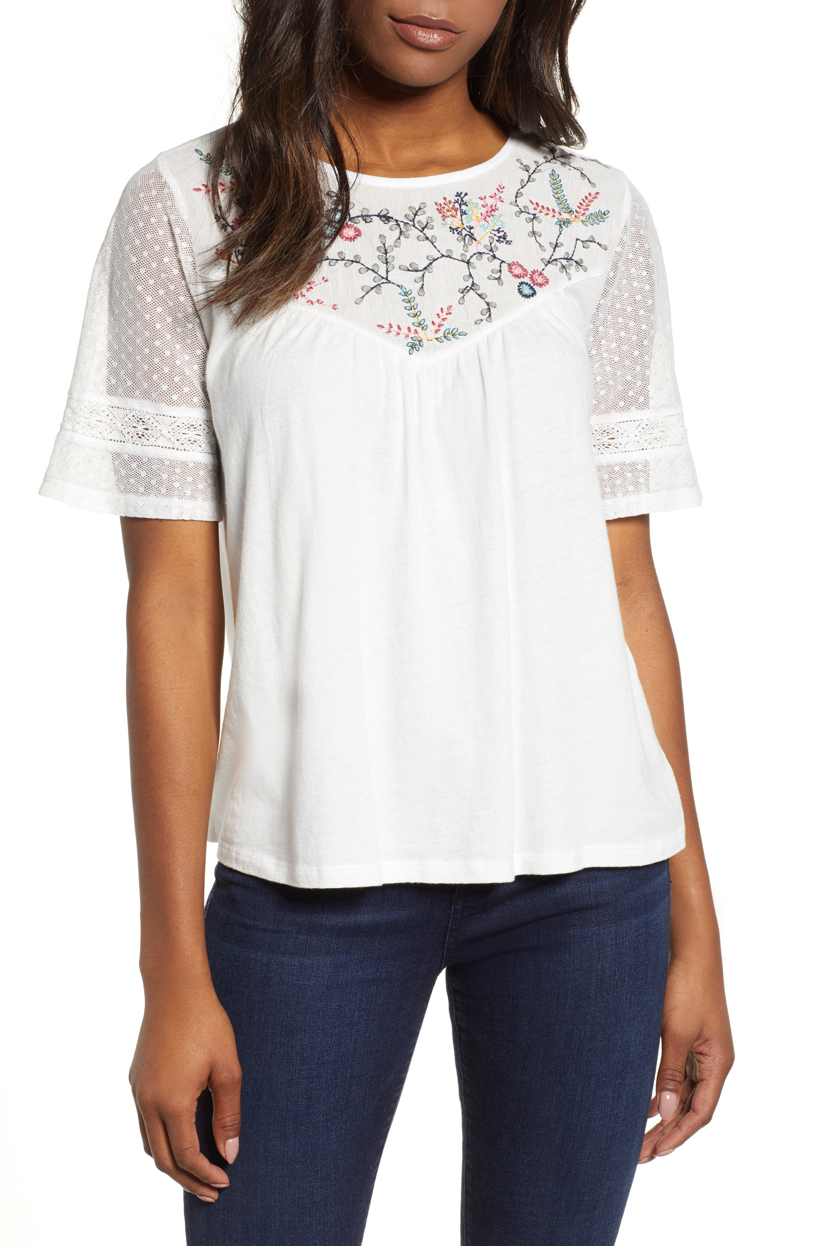 LUCKY BRAND,                             Embroidered Yoke Peasant Top,                             Main thumbnail 1, color,                             LUCKY WHITE
