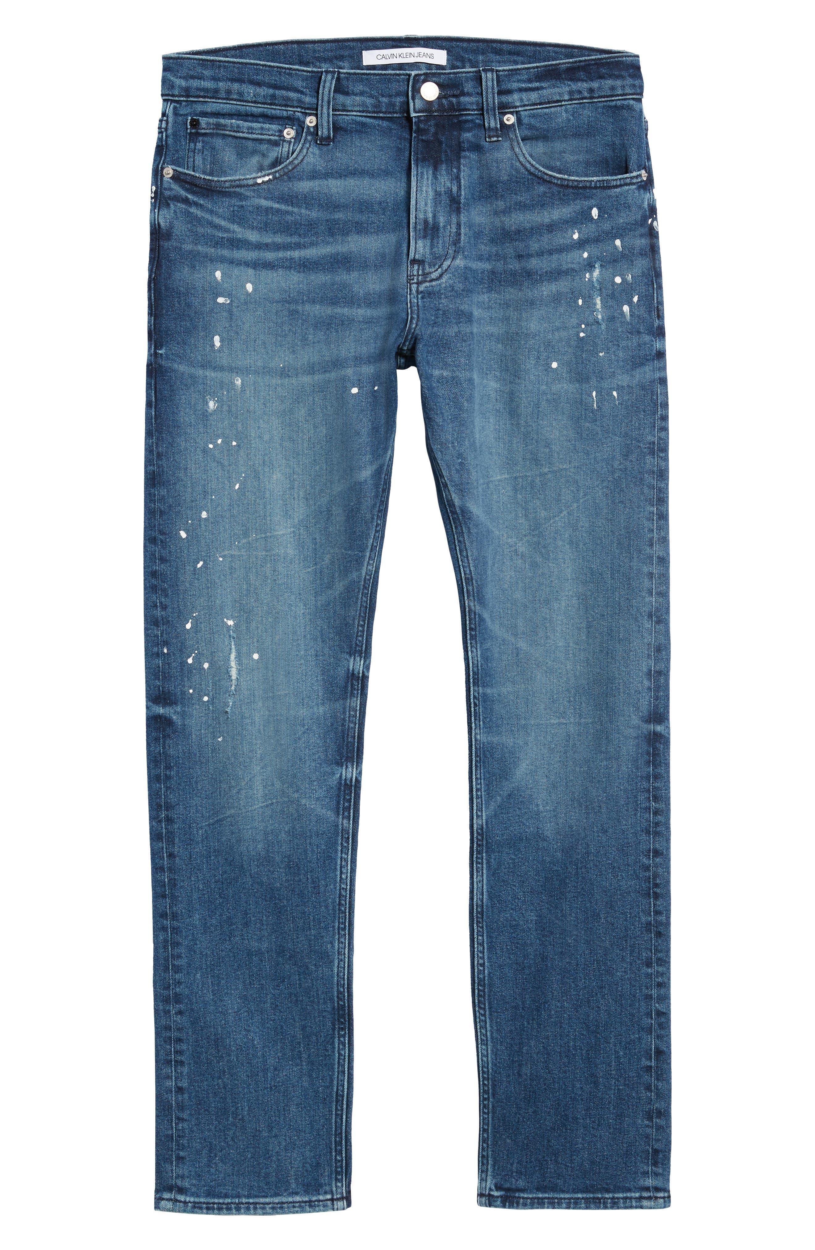 Calvin Klein Slim Fit Jeans,                             Alternate thumbnail 6, color,                             KINGPIN BLUE