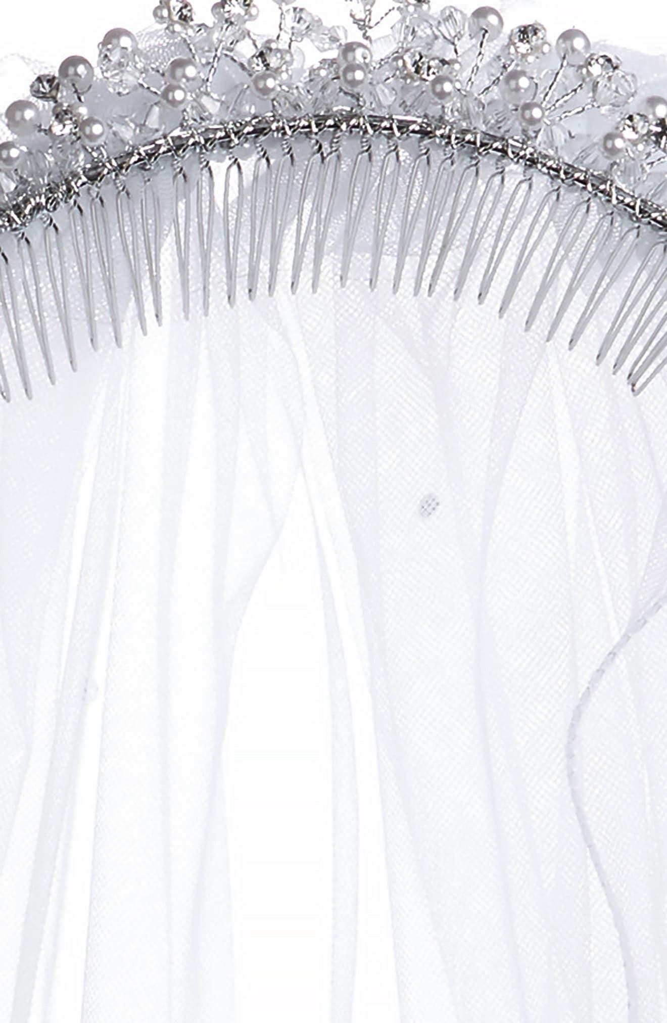 Imitation Pearl Crown & Veil,                             Alternate thumbnail 5, color,                             WHITE