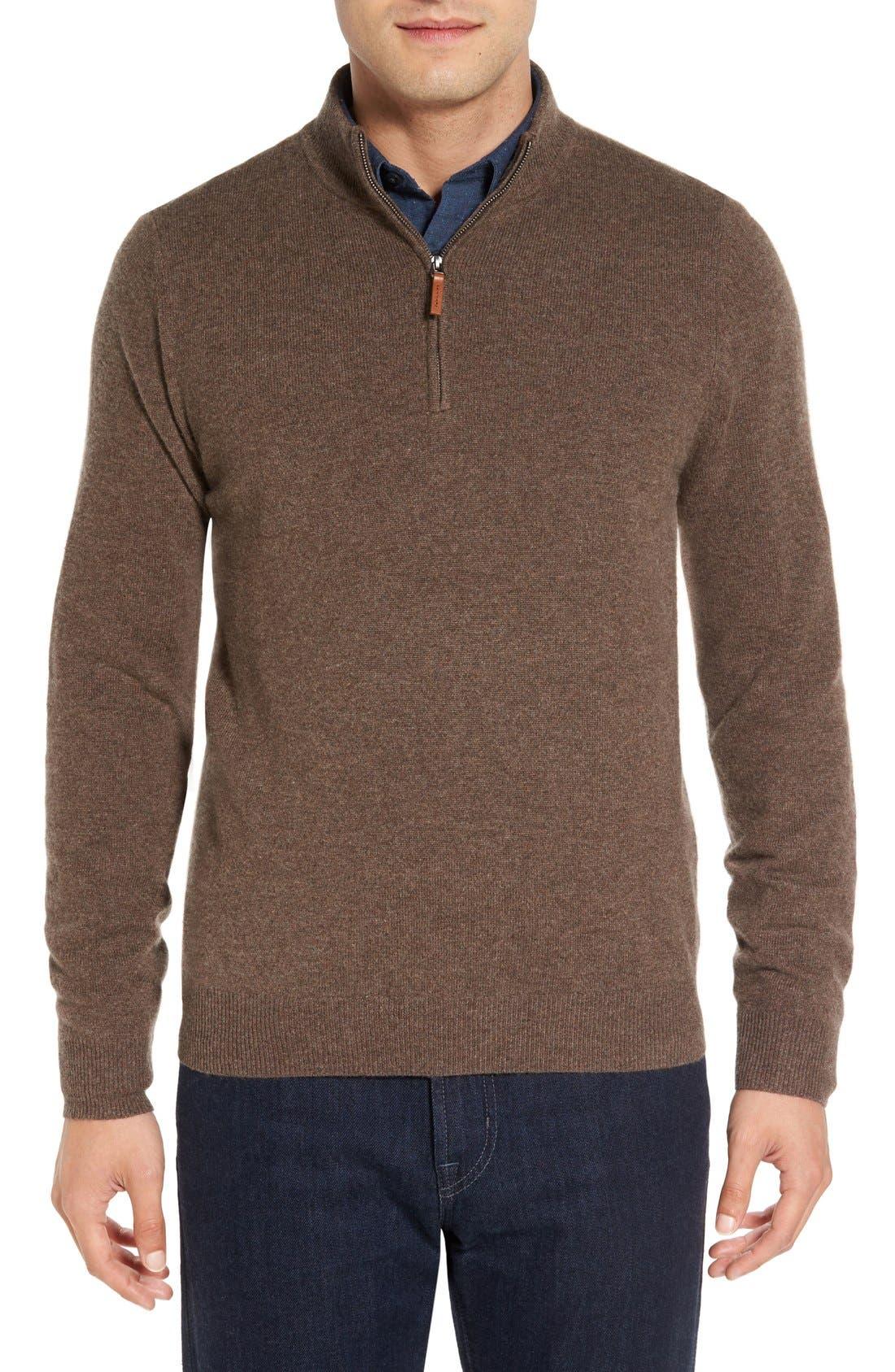 Cashmere Quarter Zip Sweater,                             Main thumbnail 7, color,
