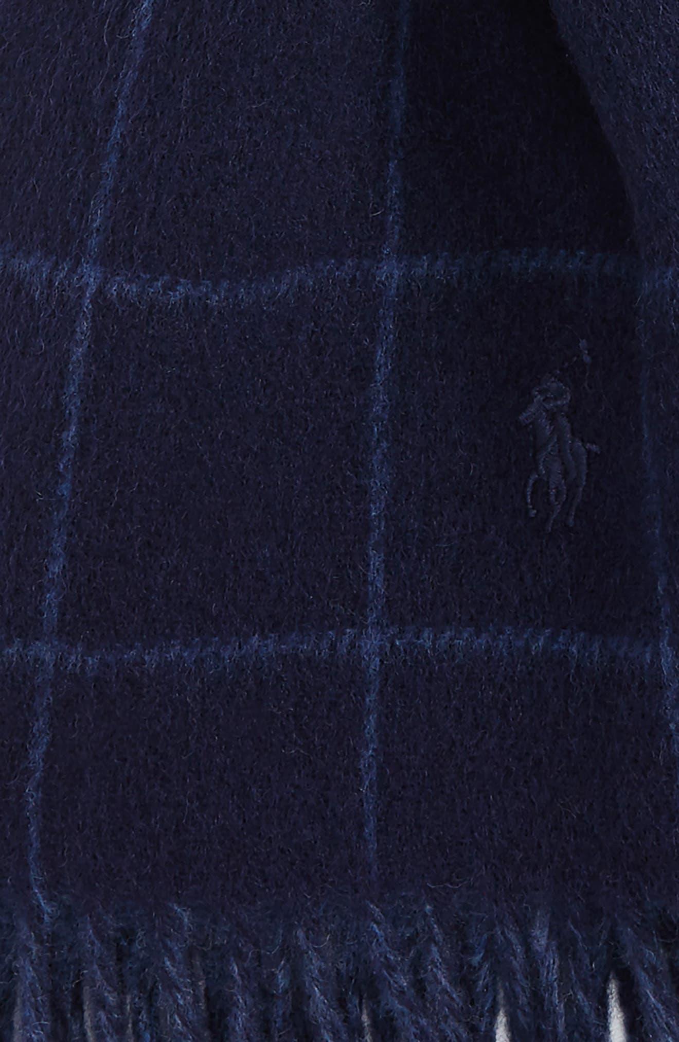 Reversible Wool Blend Plaid Scarf,                             Alternate thumbnail 6, color,