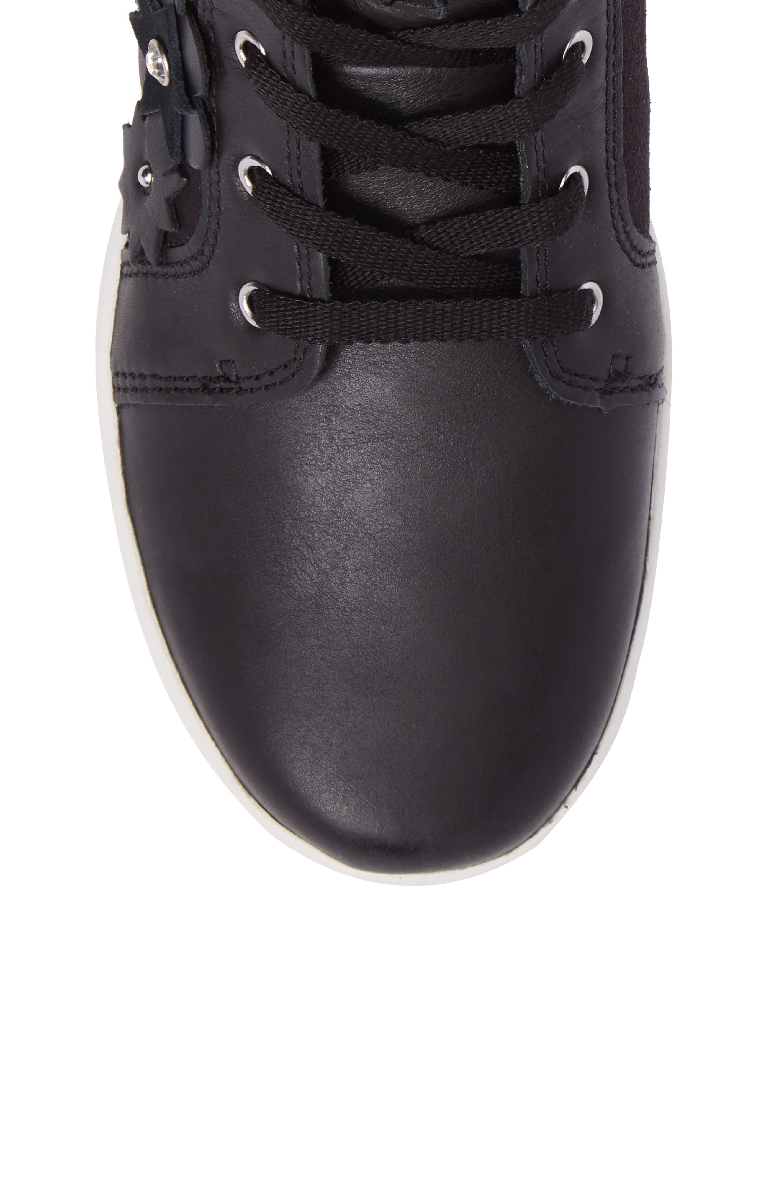 Schyler Petal Embellished High Top Sneaker,                             Alternate thumbnail 5, color,                             001