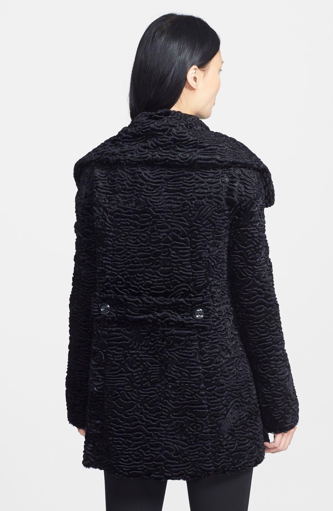 Faux Persian Lamb Fur Swing Coat,                             Alternate thumbnail 3, color,                             001