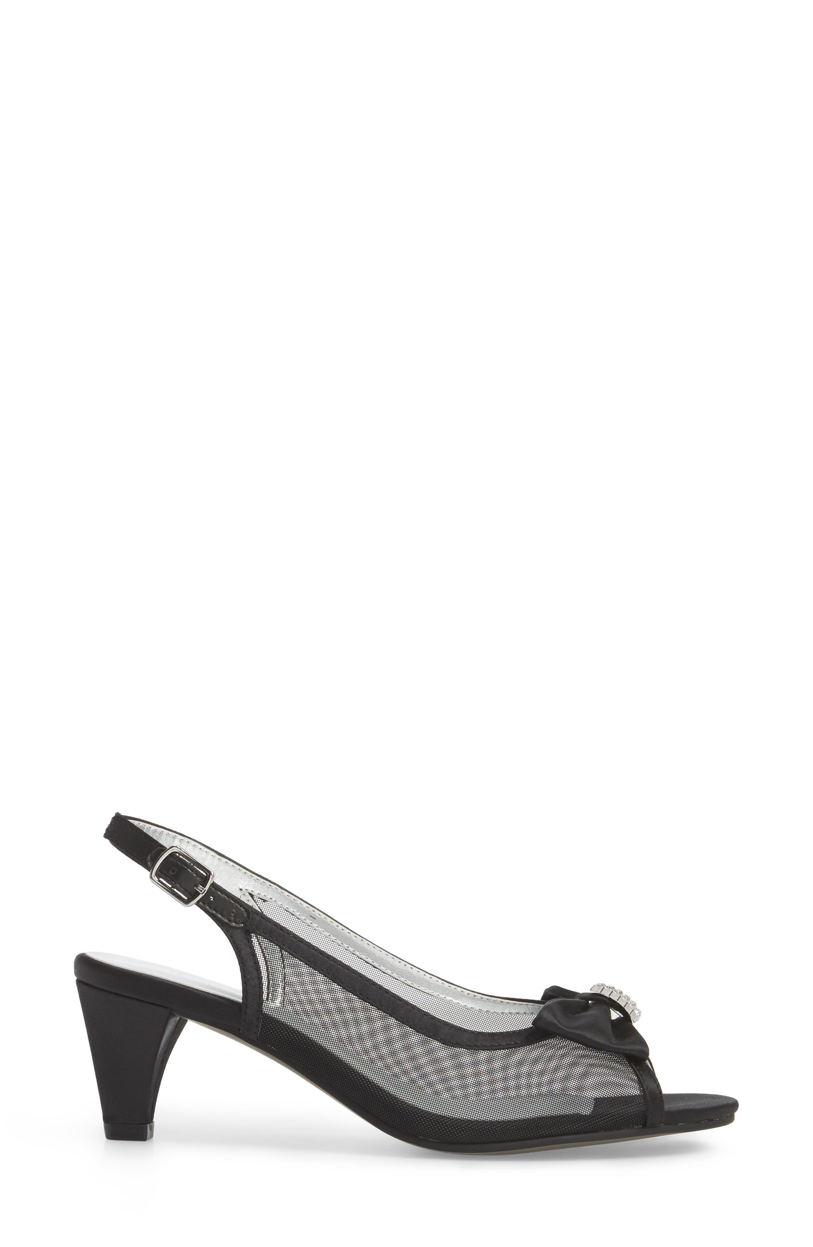 Foxy Slingback Sandal,                             Alternate thumbnail 3, color,                             BLACK SATIN