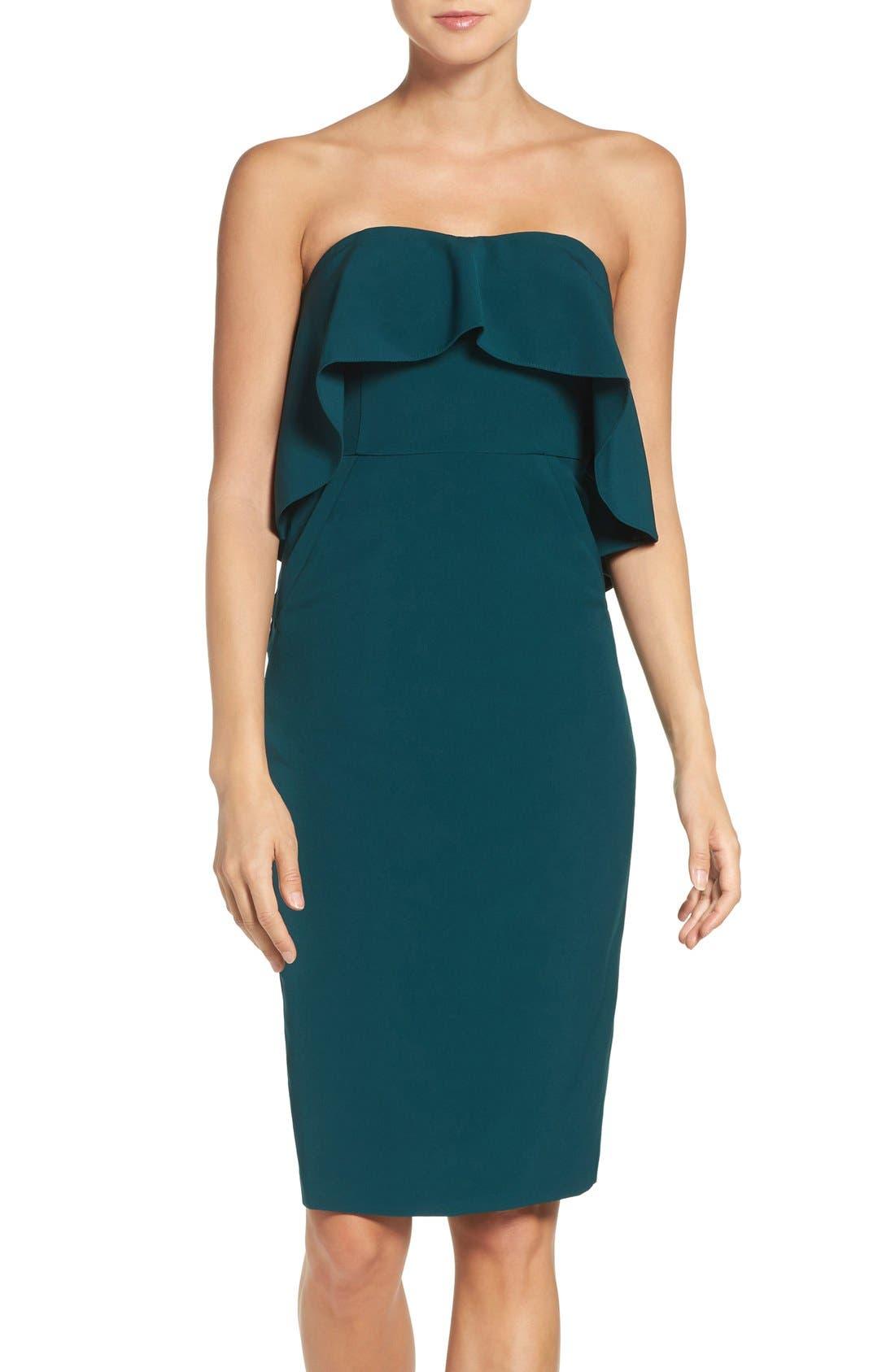 Ruffle Stretch Crepe Sheath Dress,                             Main thumbnail 5, color,
