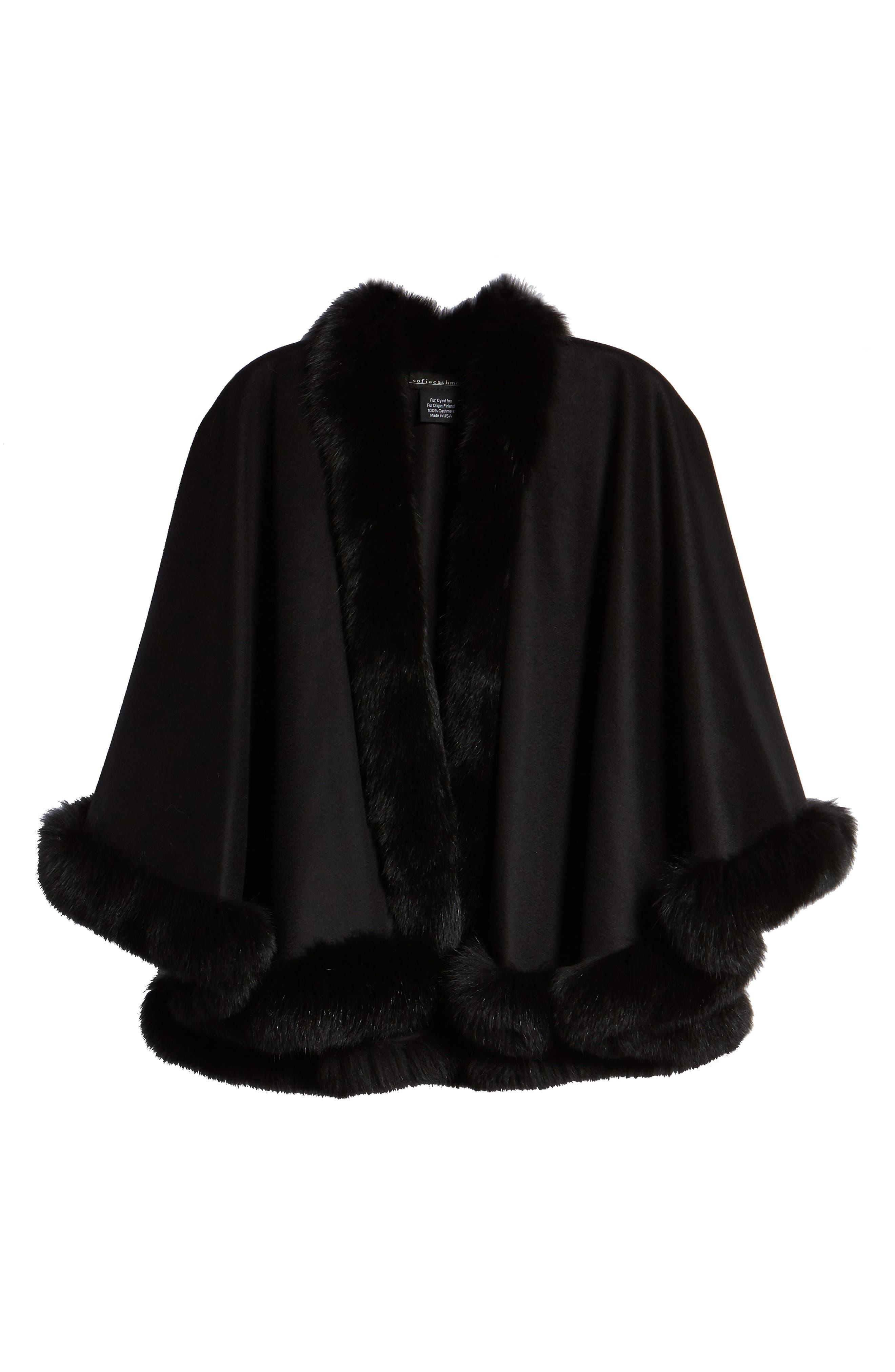 Petite Genuine Fox Fur Trim Cashmere Cape,                             Alternate thumbnail 6, color,                             BLACK