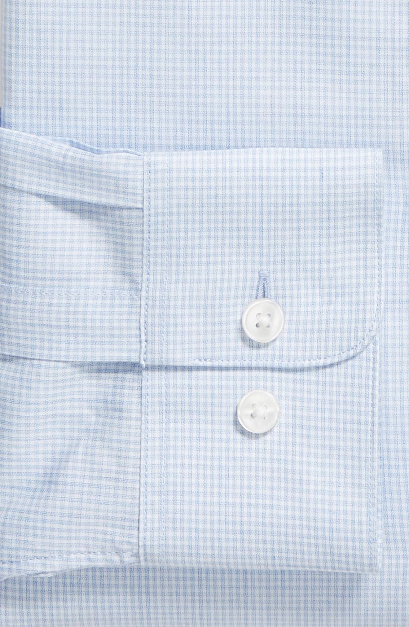 Slim Fit Check Dress Shirt,                             Alternate thumbnail 6, color,                             LIGHT BLUE