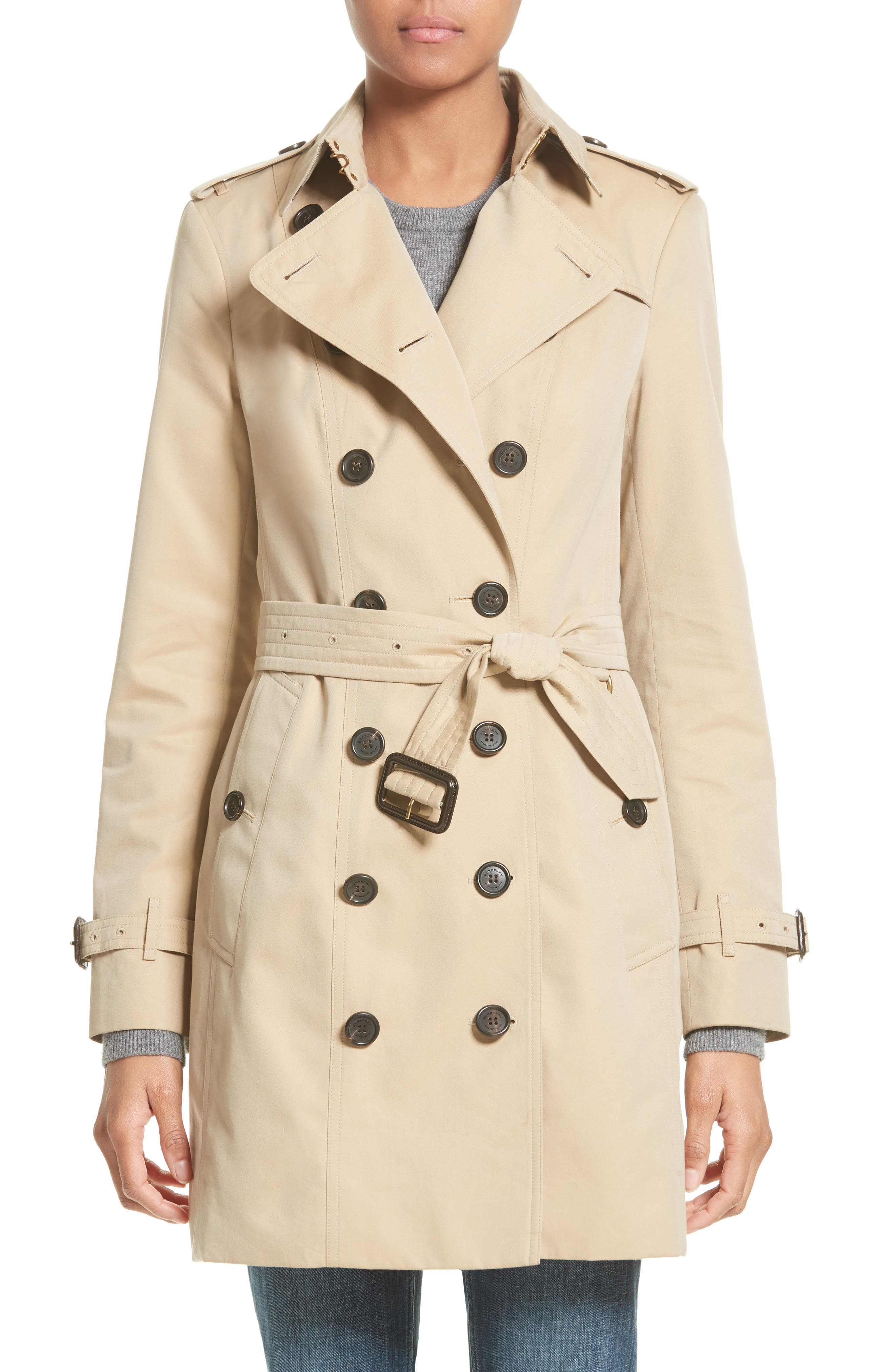 BURBERRY,                             Sandringham Mid Slim Trench Coat,                             Main thumbnail 1, color,                             HONEY