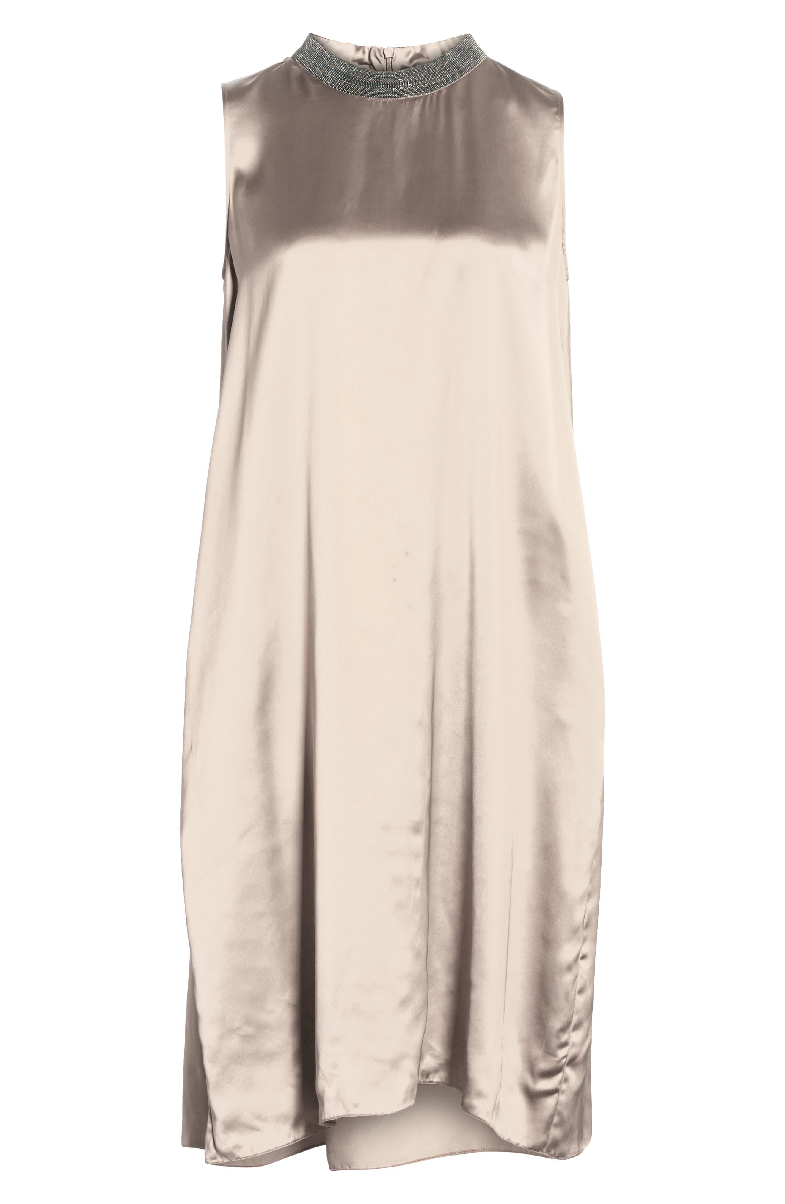 Chain Trim Satin Dress,                             Alternate thumbnail 7, color,                             CHAMPAGNE