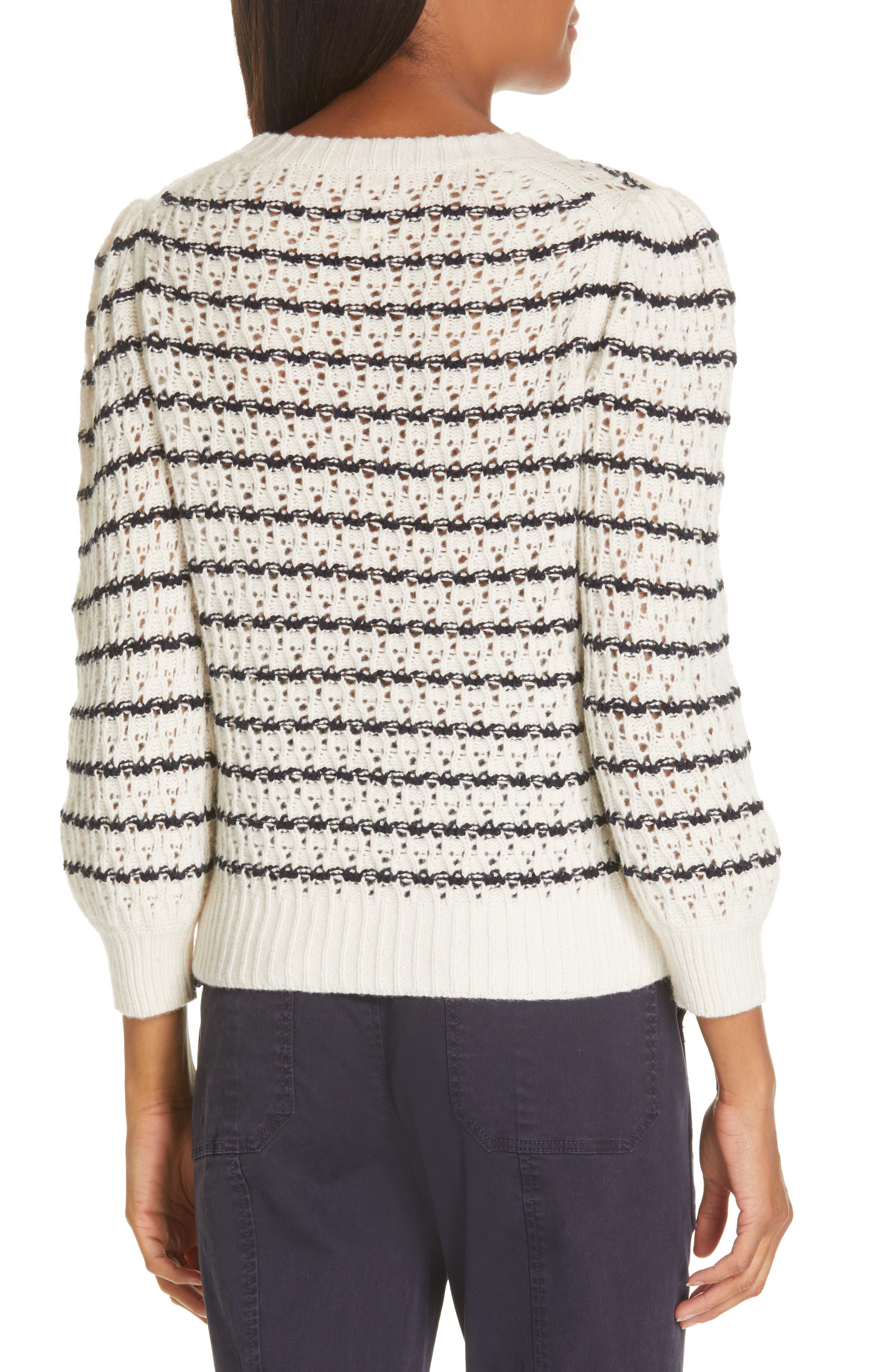 LA VIE REBECCA TAYLOR,                             Stripe Pointelle Sweater,                             Alternate thumbnail 2, color,                             ECRU/ MIDNIGHT NAVY