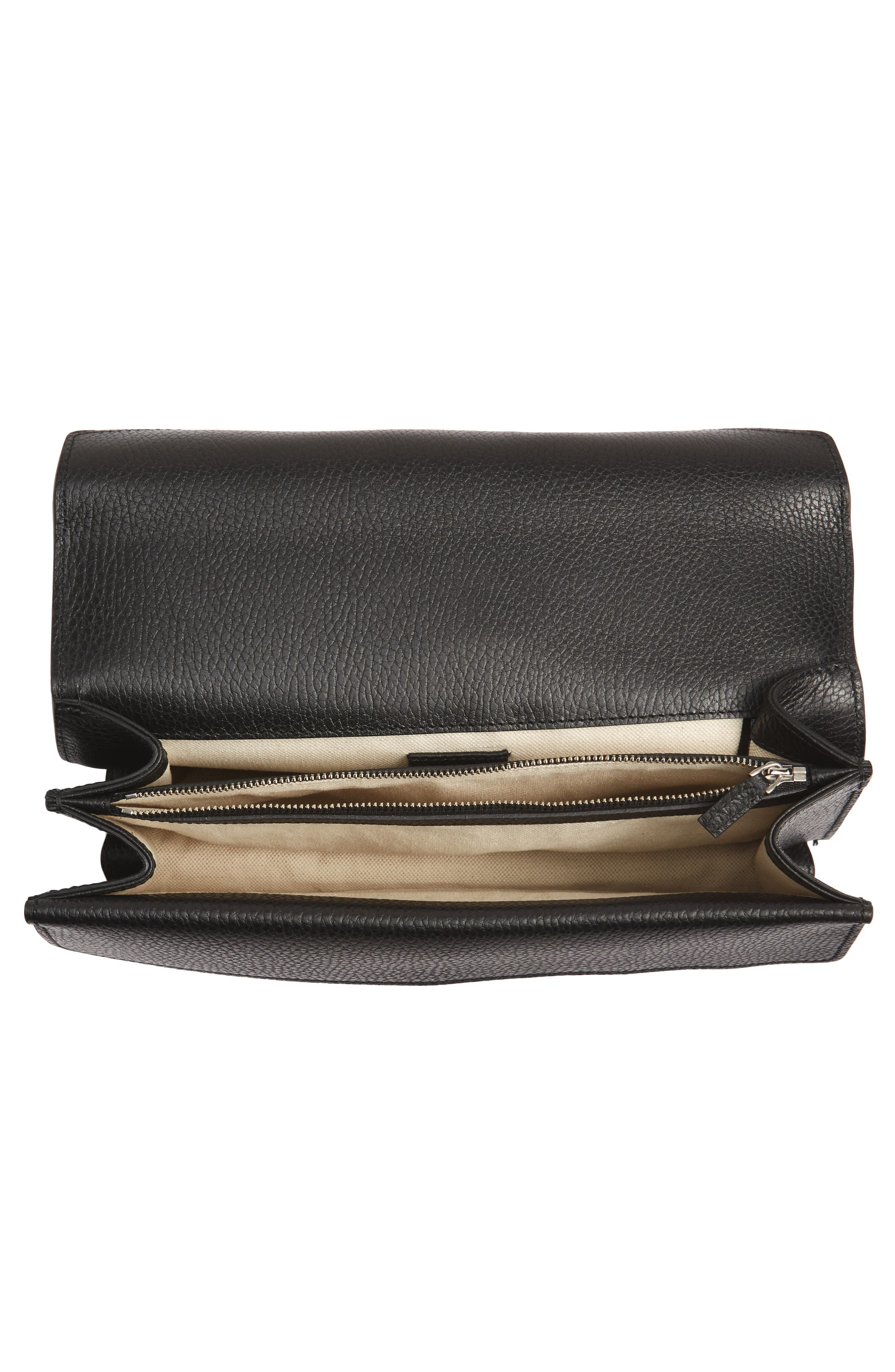 Small Dionysus Leather Shoulder Bag,                             Alternate thumbnail 4, color,                             8176 NERO/BLACK DIAMOND