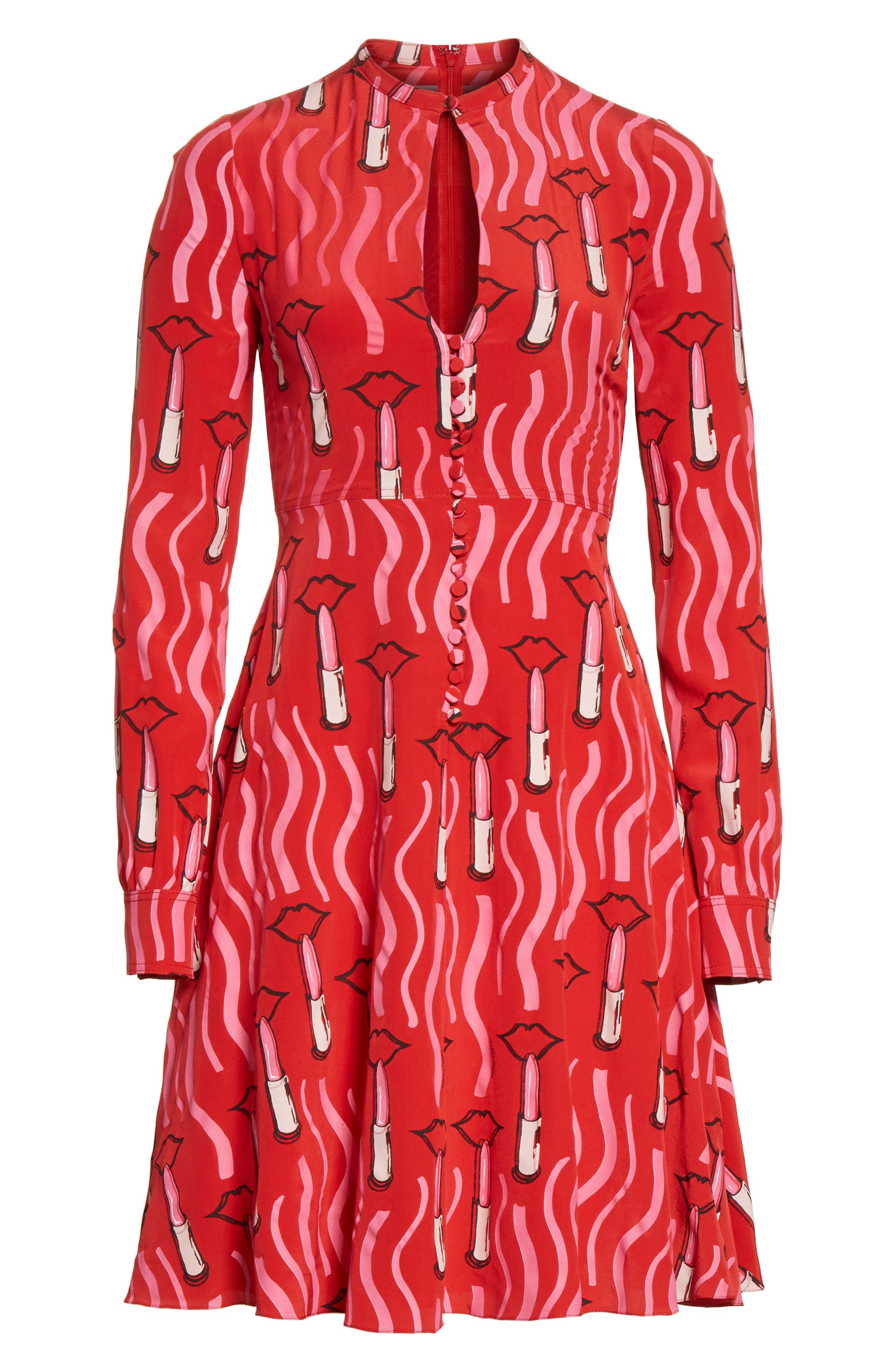Lipstick Print Silk Fit & Flare Dress,                             Alternate thumbnail 7, color,