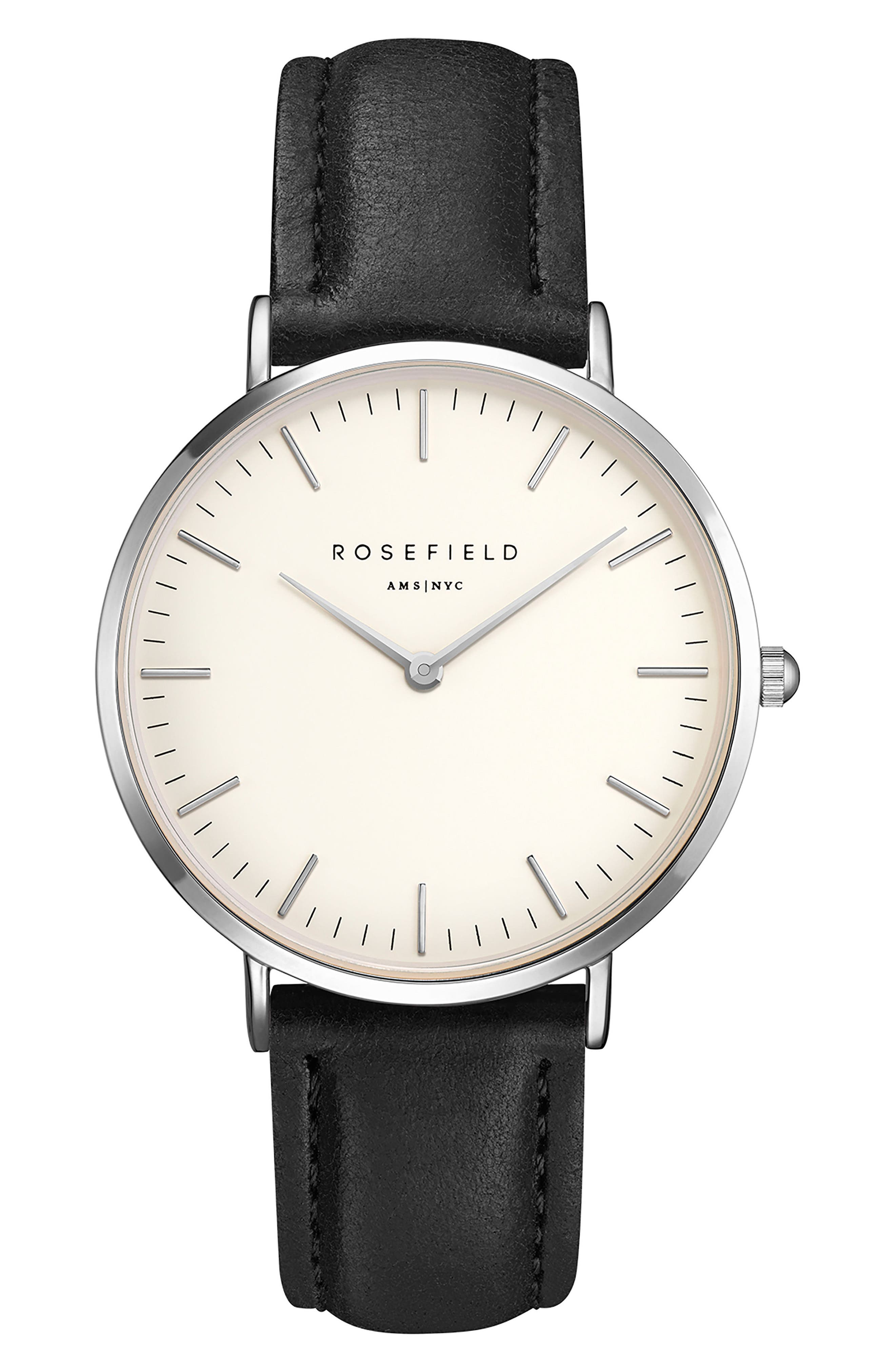 Bowery Leather Strap Watch, 38mm,                         Main,                         color, BLACK/ WHITE/ SILVER