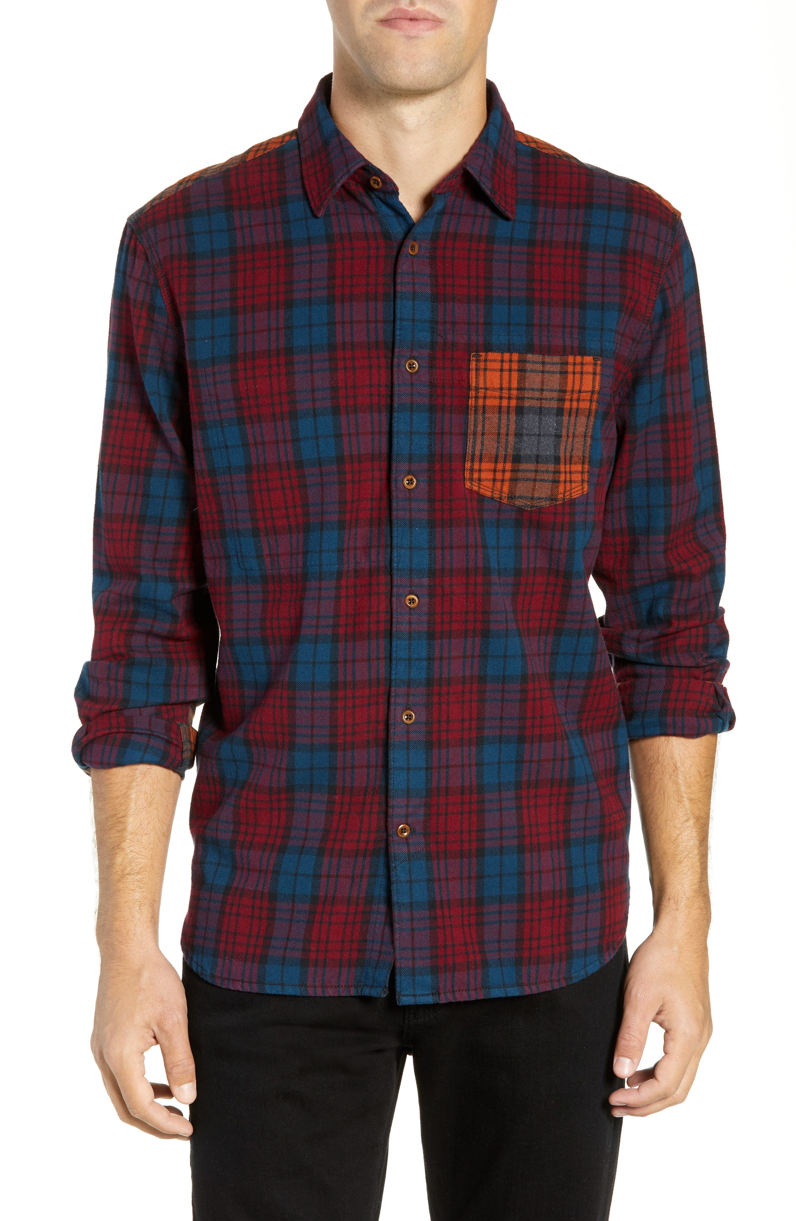 French Connection Regular Fit Tartan Flannel Sport Shirt, Red