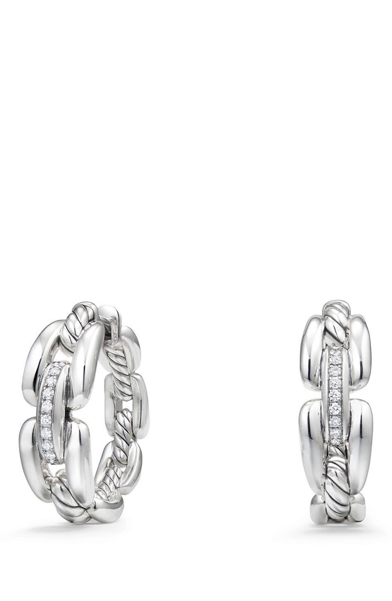 Wellesley Link Hoop Earrings with Diamonds, 23mm,                             Main thumbnail 1, color,                             SILVER