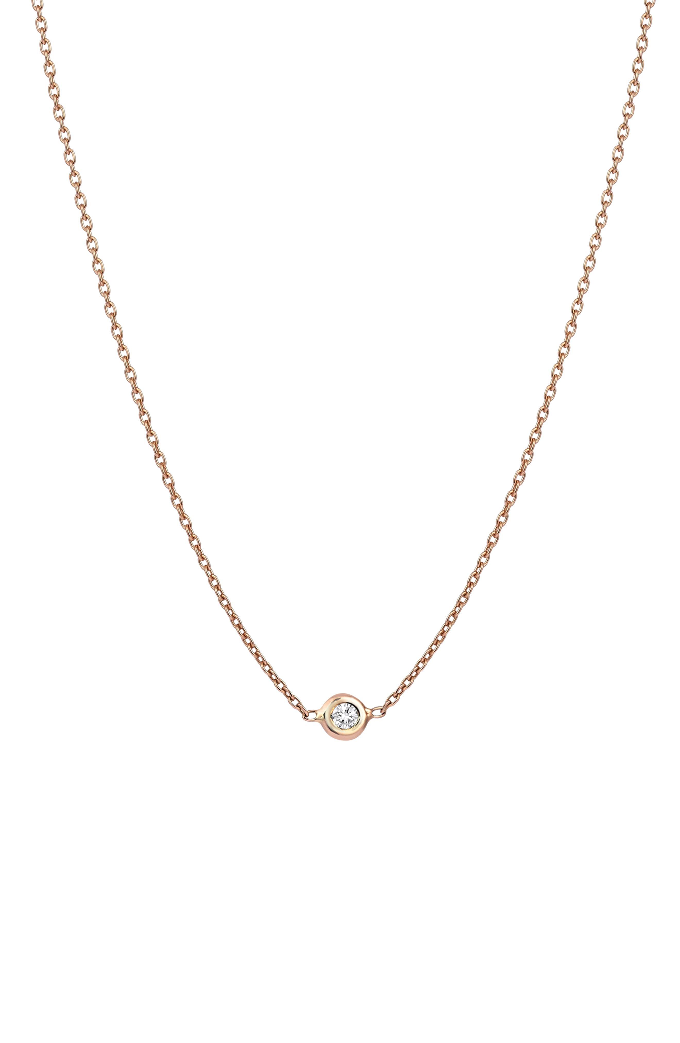 Diamond Choker Necklace,                             Main thumbnail 1, color,                             ROSE GOLD