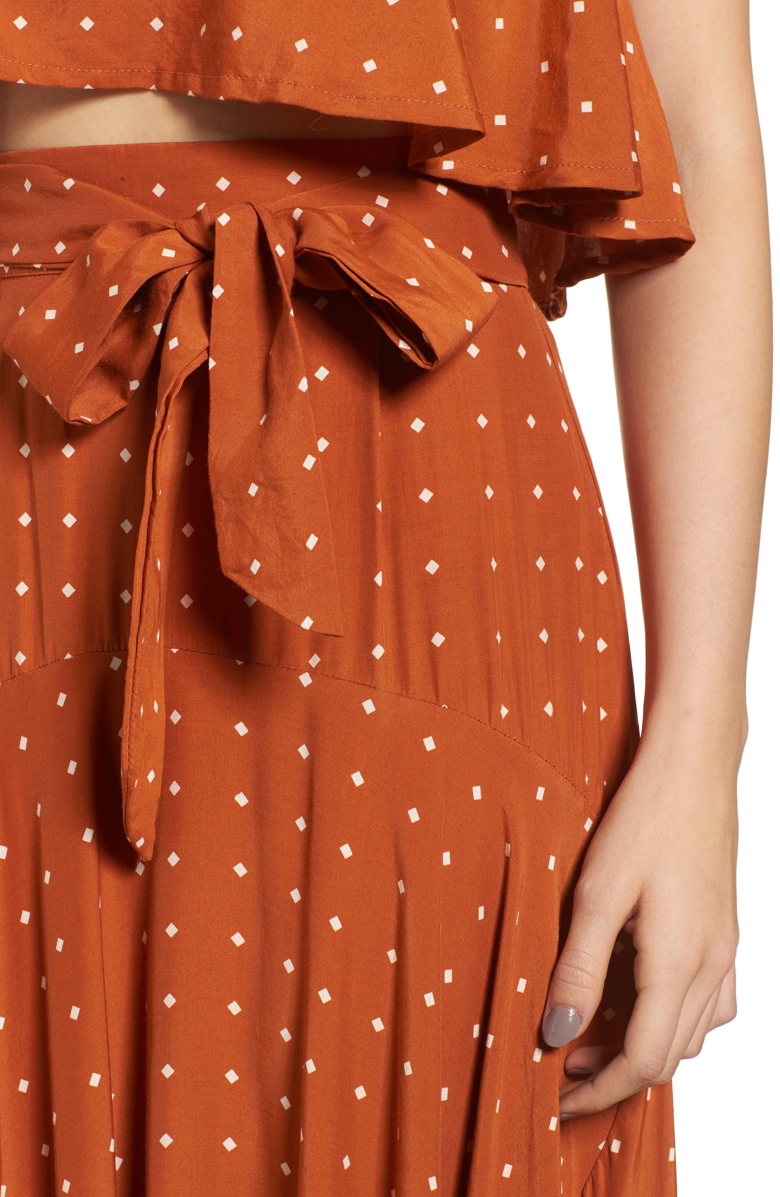FAITHFULL THE BRAND,                             Kamares Polka Dot Midi Skirt,                             Alternate thumbnail 4, color,                             700