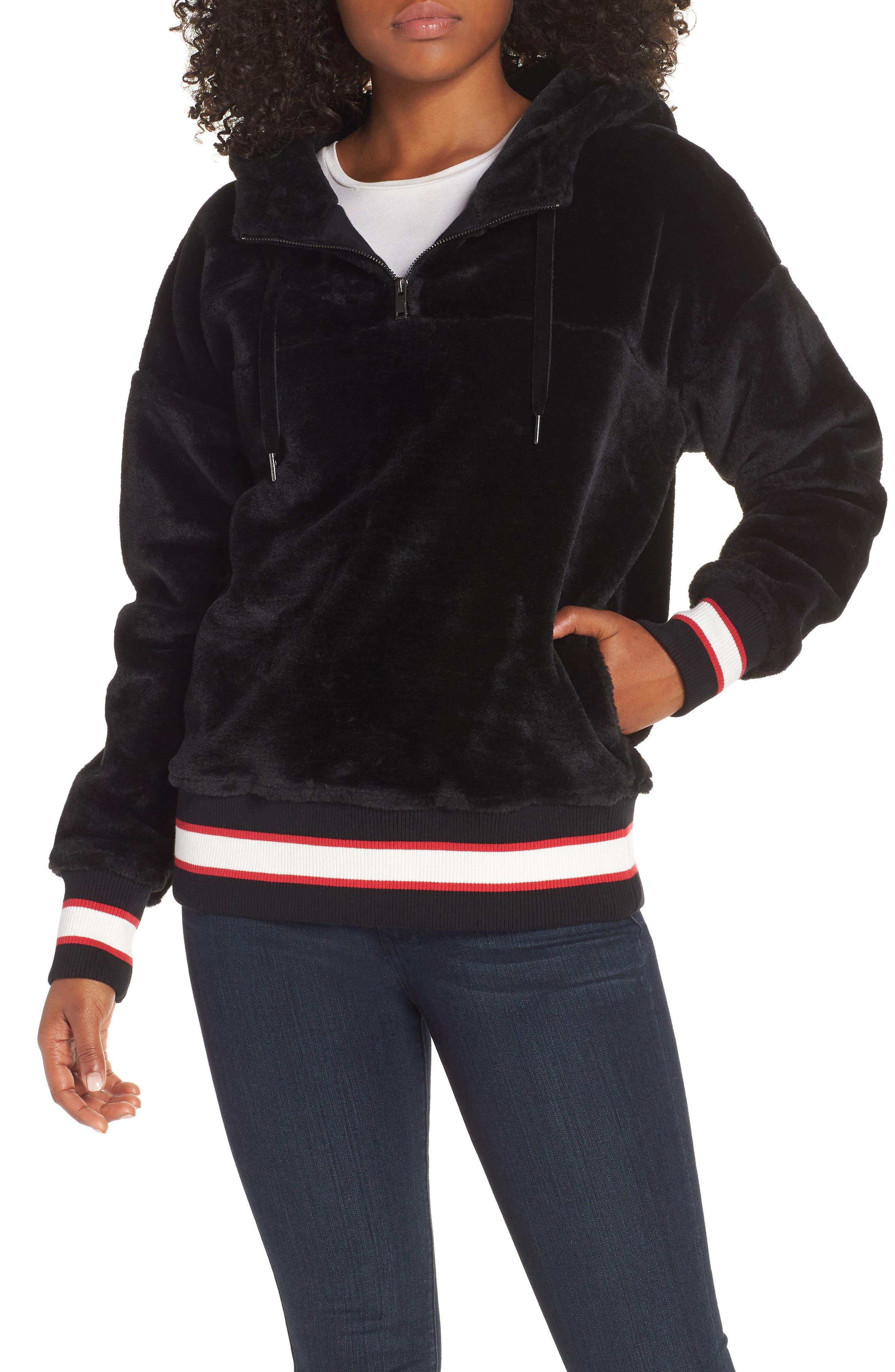 Kailani High Pile Fleece Hoodie,                             Main thumbnail 1, color,                             BLACK