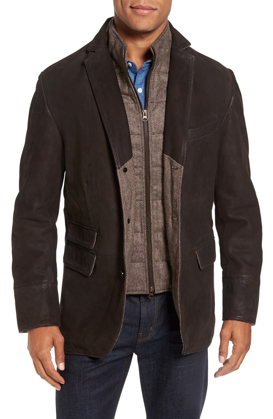 Distressed Leather Hybrid Coat,                             Main thumbnail 1, color,