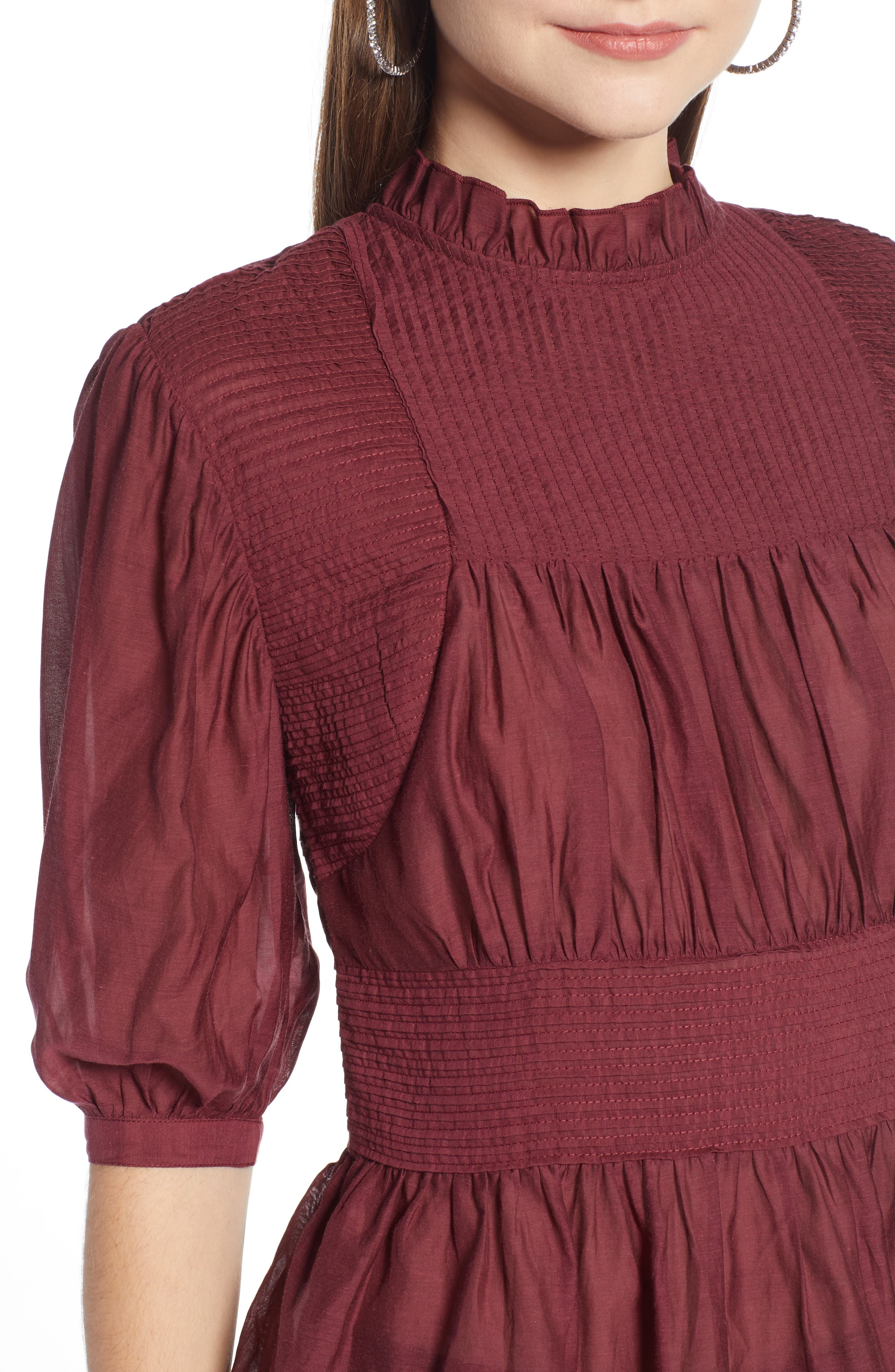Pleated Peplum Top,                             Alternate thumbnail 4, color,                             RED TANNIN