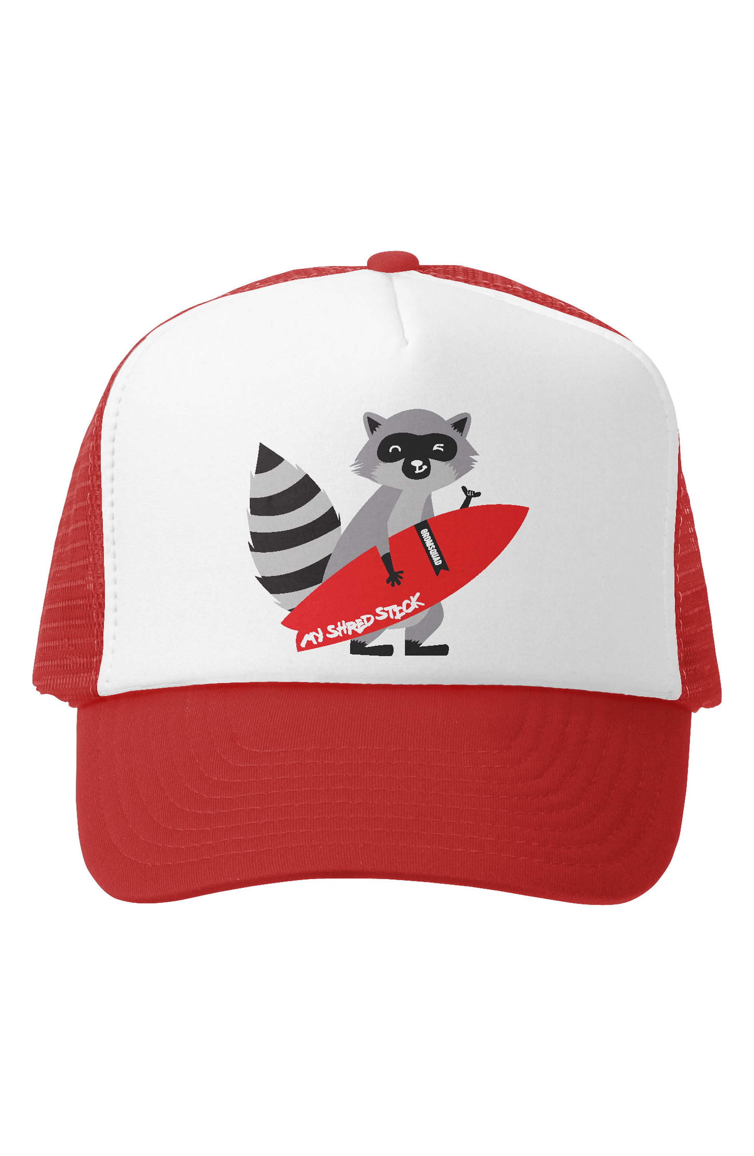 My Rip Stick Trucker Hat,                             Main thumbnail 1, color,                             RED/ WHITE