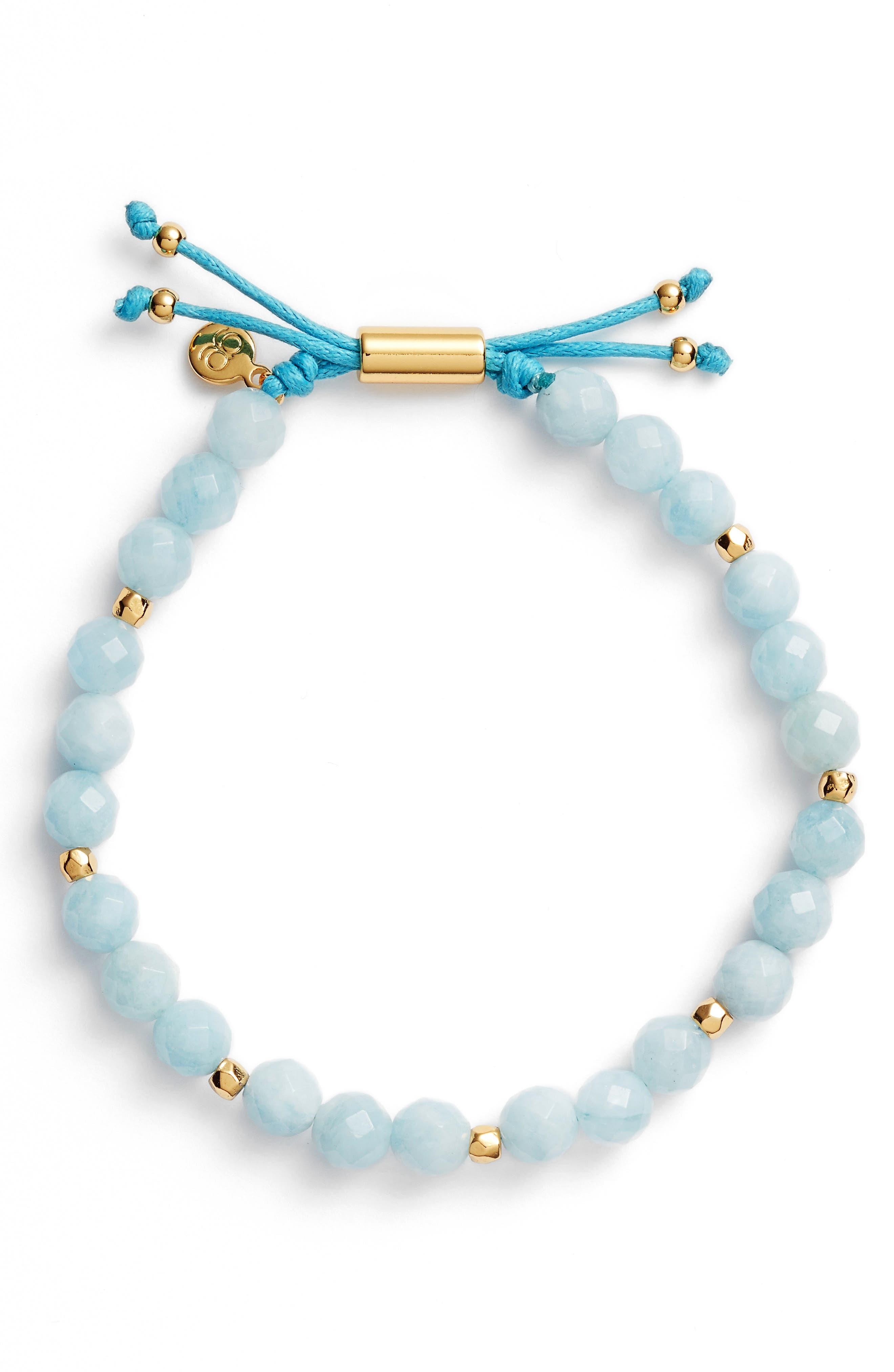 Power Stone Bracelet,                             Main thumbnail 1, color,                             AQUAMARINE/ GOLD