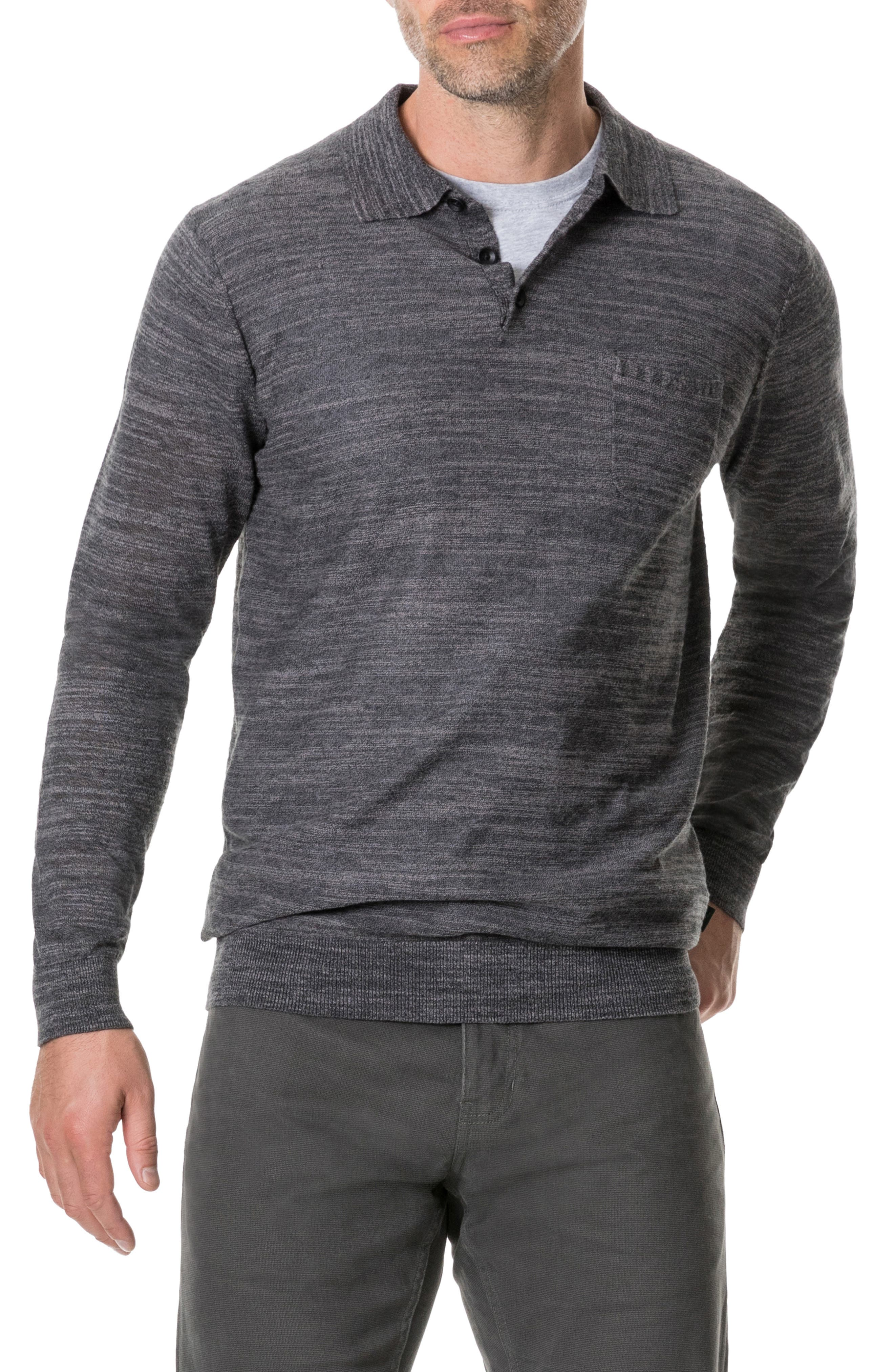 Barret Reef Long Sleeve Polo,                         Main,                         color, CHARCOAL