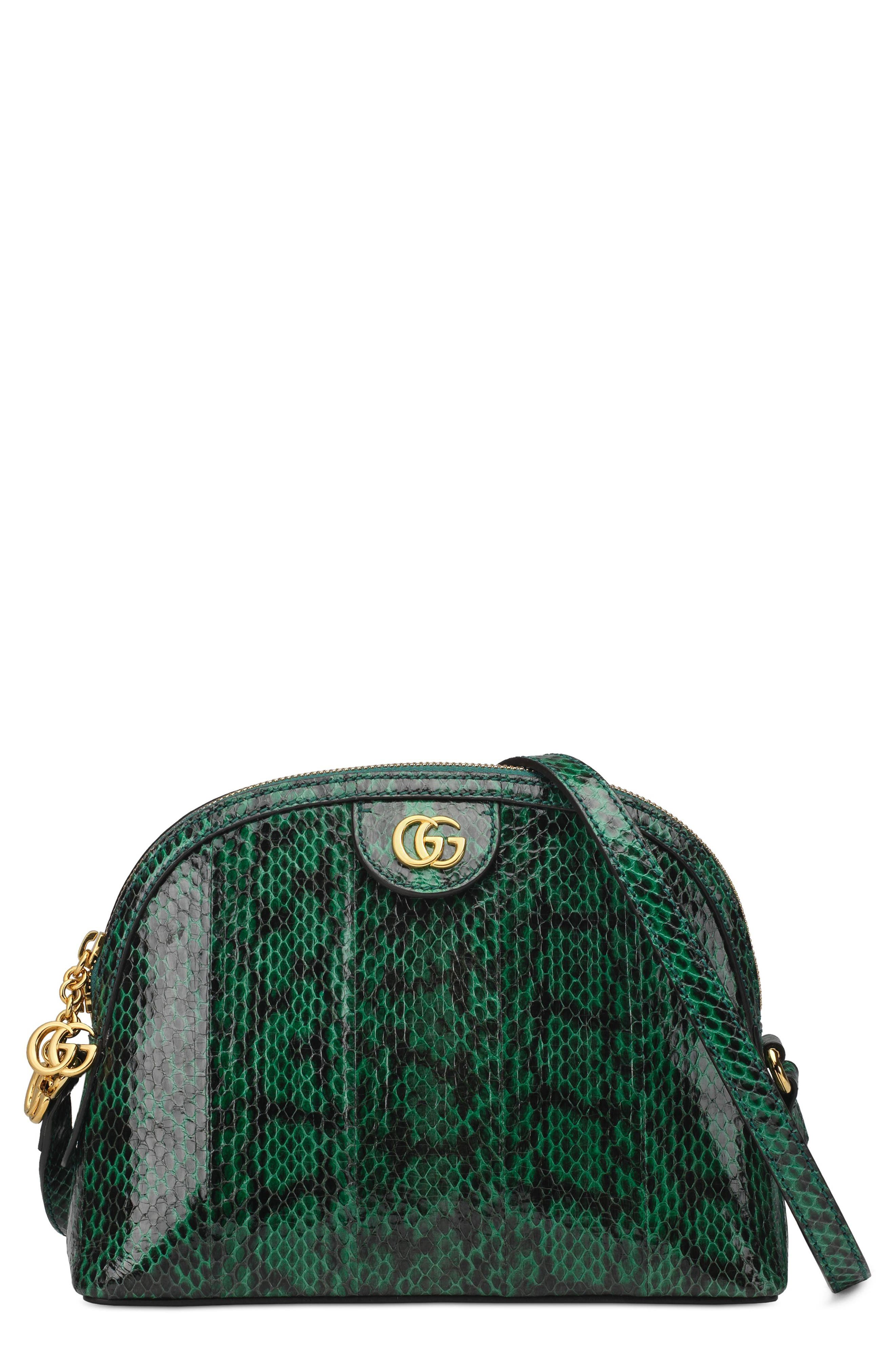 Small Ophidia Genuine Snakeskin Dome Satchel,                         Main,                         color, EMERALD