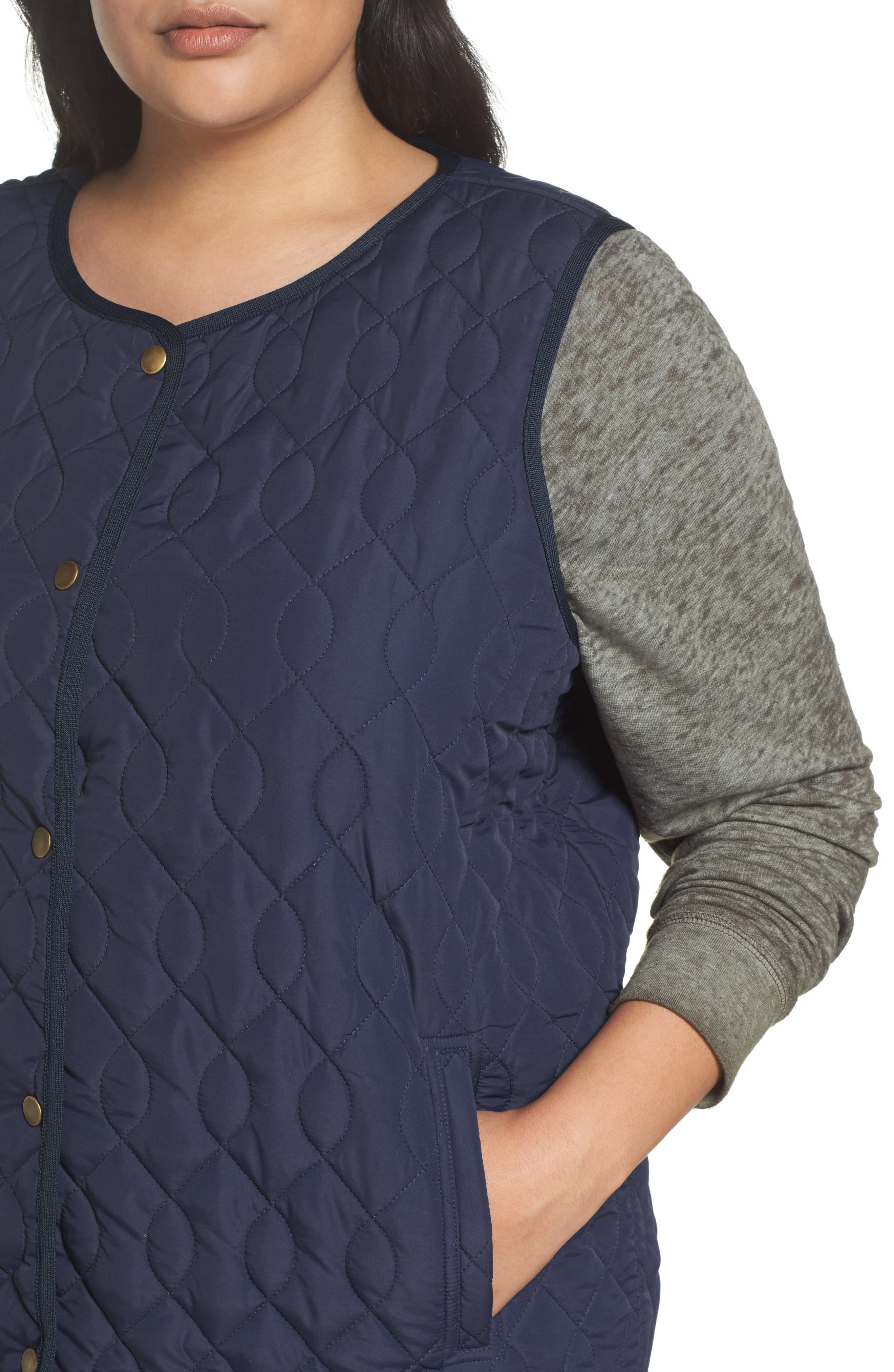 Collarless Quilted Vest,                             Alternate thumbnail 4, color,