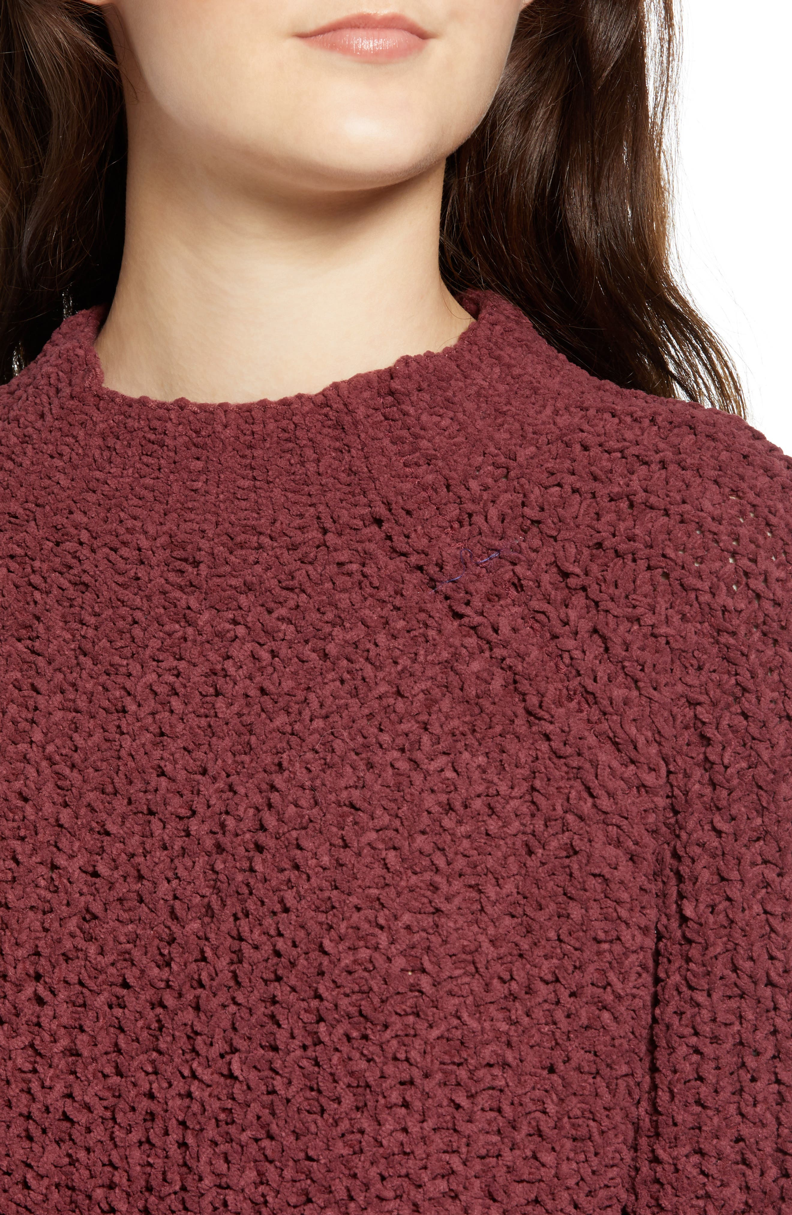 Chenille Sweater,                             Alternate thumbnail 4, color,                             RED RUMBA