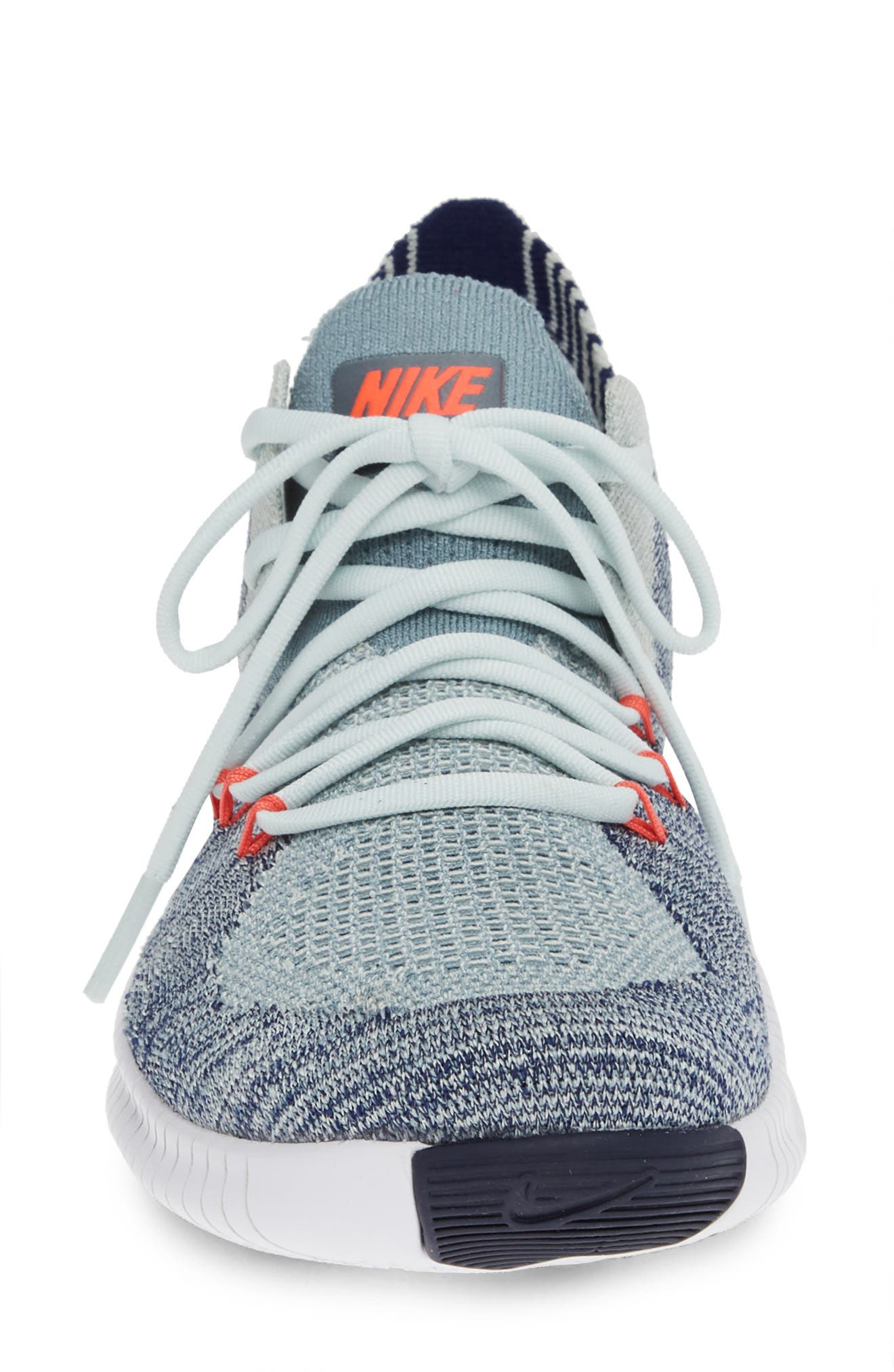Free TR Flyknit 3 Training Shoe,                             Alternate thumbnail 4, color,                             BARELY GREY/ EMBER GLOW/ BLUE